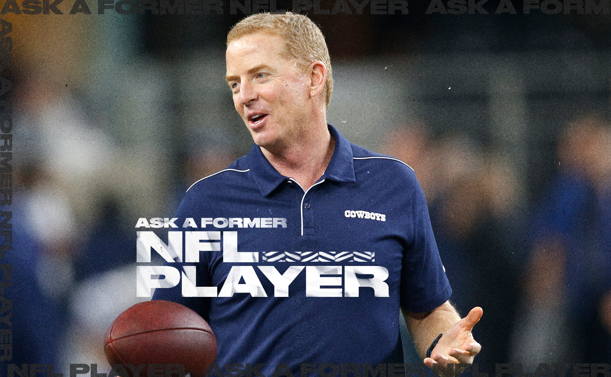 """Cowboys coach Jason Garrett shrugs while holding a football in his right hand, with the words """"Ask a former NFL player"""" in the background"""