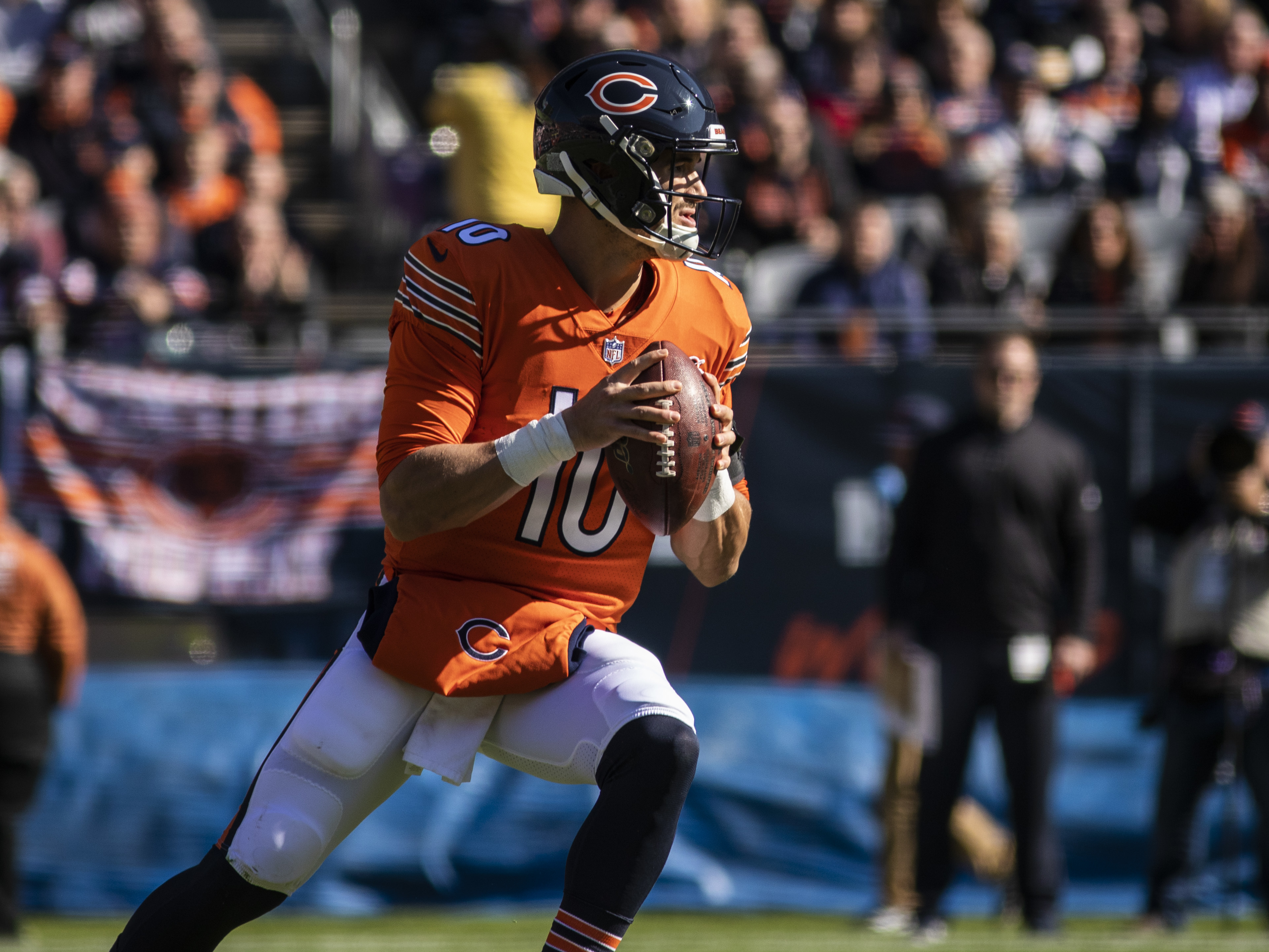 Bears quarterback Mitch Trubisky looks to throw the ball against the Los Angeles Chargers at Soldier Field on Oct. 27, 2019.