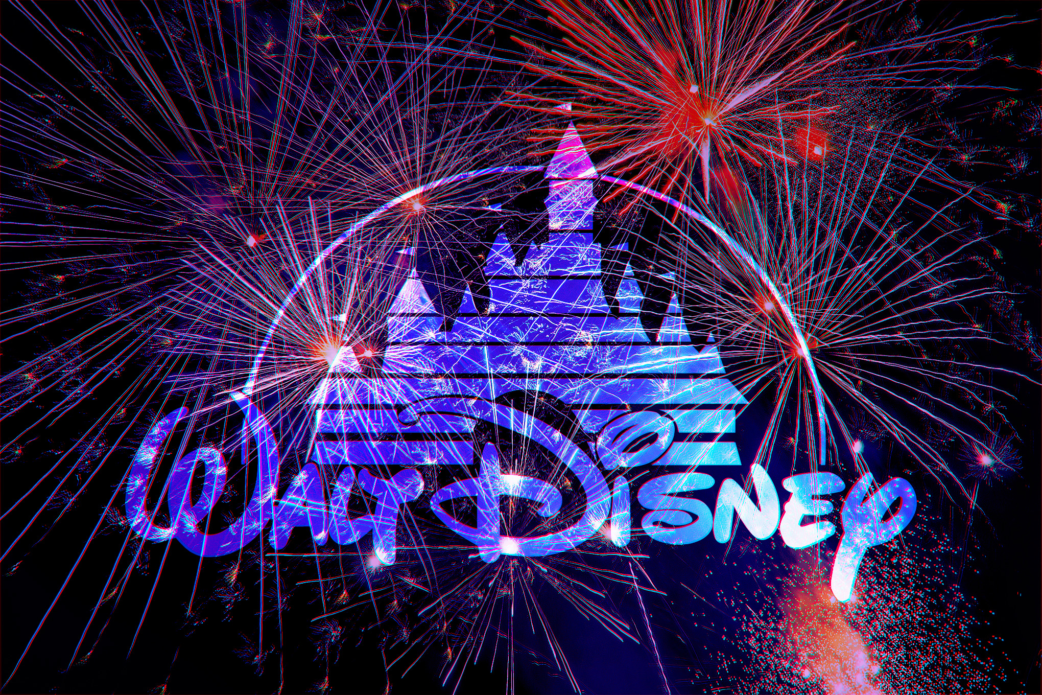Illustration featuring Disney logo overwhelmed by fireworks