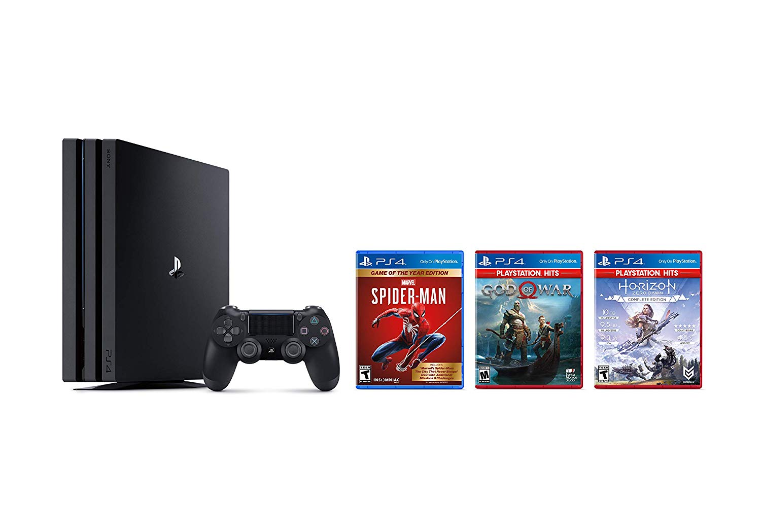 A PS4 Pro console with Spider-Man, God of War, and Horizon Zero Dawn cases next to it