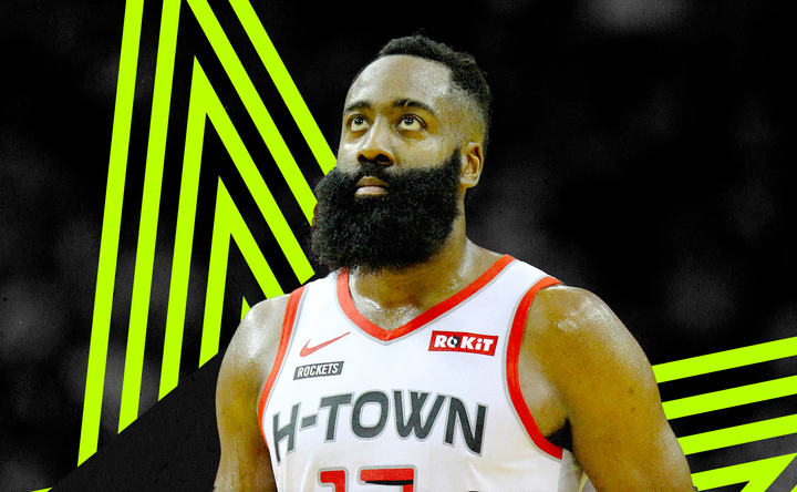 James Harden stares on the court for the Rockets.