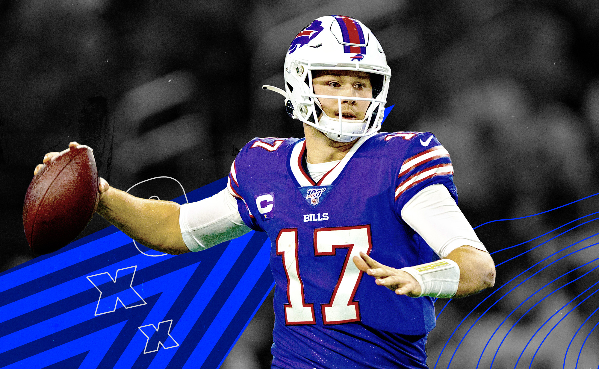 Bills QB Josh Allen has the football in his right hand and readies to throw it, with blue and white X's and O's in the background