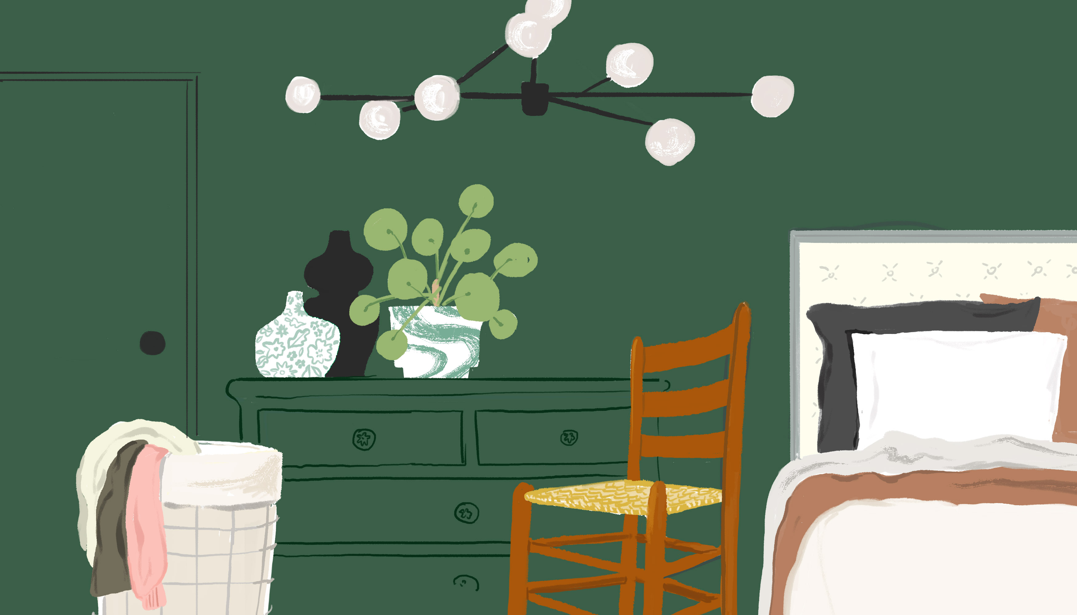 A wooden chair with a slatted back and woven seat sits in the middle of a bedroom scene. To the left of the chair is a dresser topped with plants and vases and an overflowing hamper. To the chair's right is a made bed. Illustration.