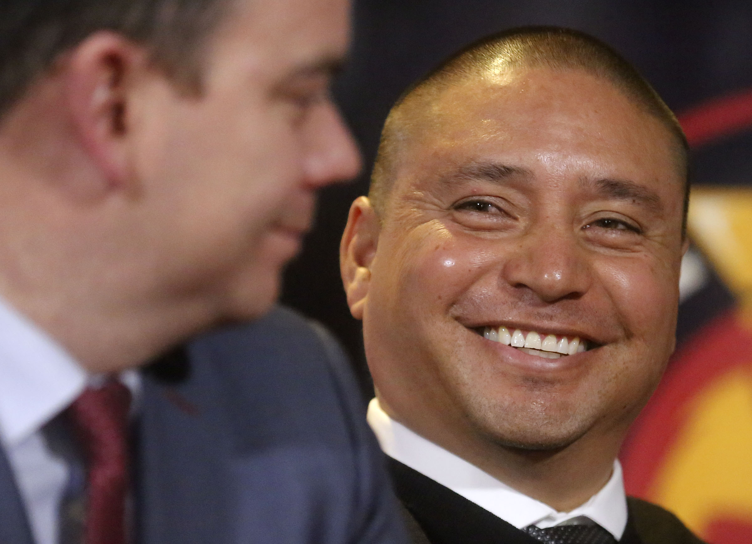 Real Salt Lake head coach Freddy Juarez smiles at Elliot Fall, RSL's general manager, during a press conference to announce their positions at Rio Tinto Stadium in Sandy on Tuesday, Dec. 3, 2019.
