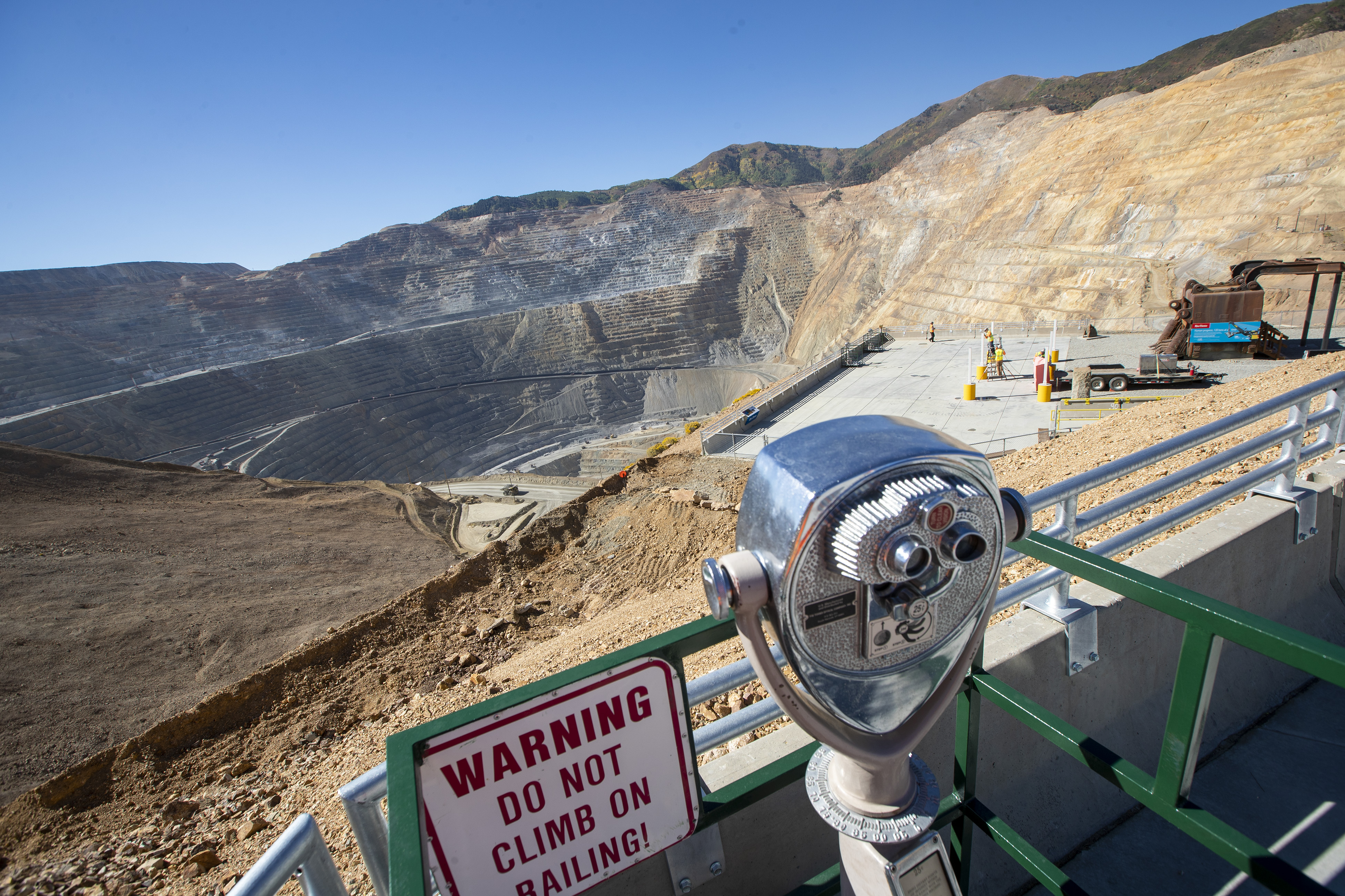 The view from the upper viewing area at Rio Tinto's Kennecott Copper as employees give a tour of the new visitors area at the Bingham Canyon Mine on Tuesday, Sept. 18, 2018. The mine's visitor sites will reopen to the public in early 2019.