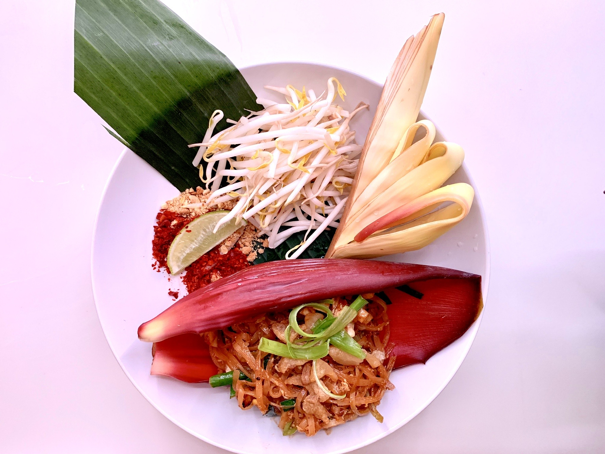 Overhead view of a plate of pad thai