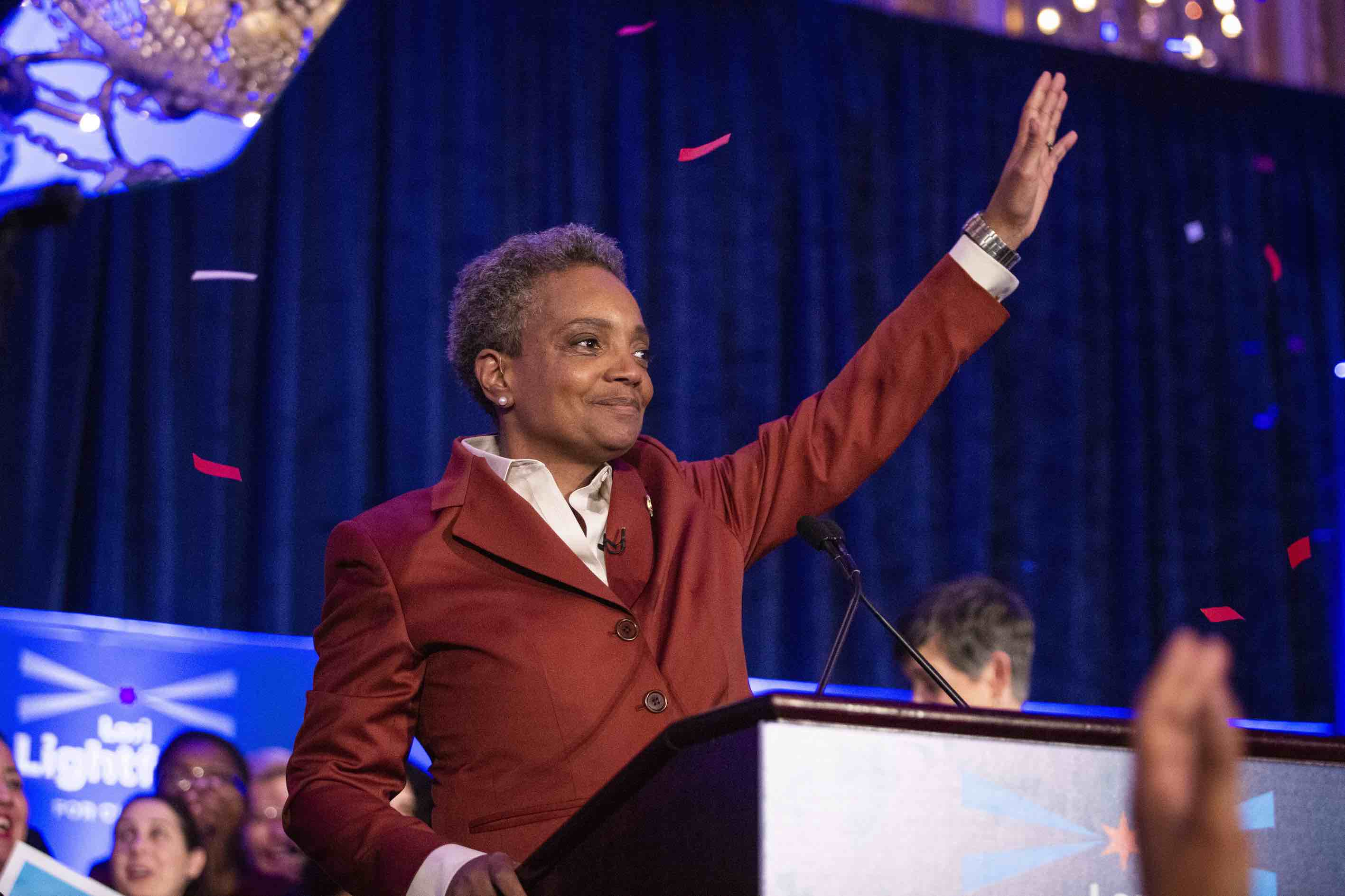 Lori Lightfoot on election night in April.