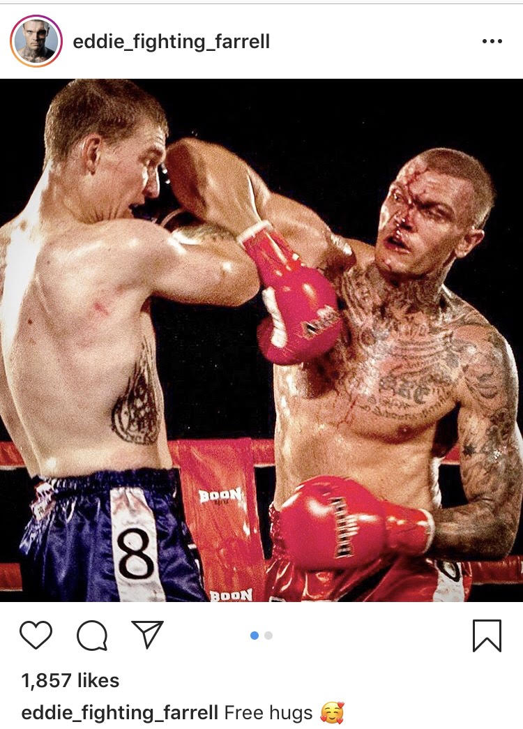 Eddie Farrell posted this image to his Instagram. Farrell is getting the better of Stephen Lottering in the WBC Muay Thai 168 pound world title fight. Not long after, Farrell suffered a severe cut and a doctor stopped the fight.