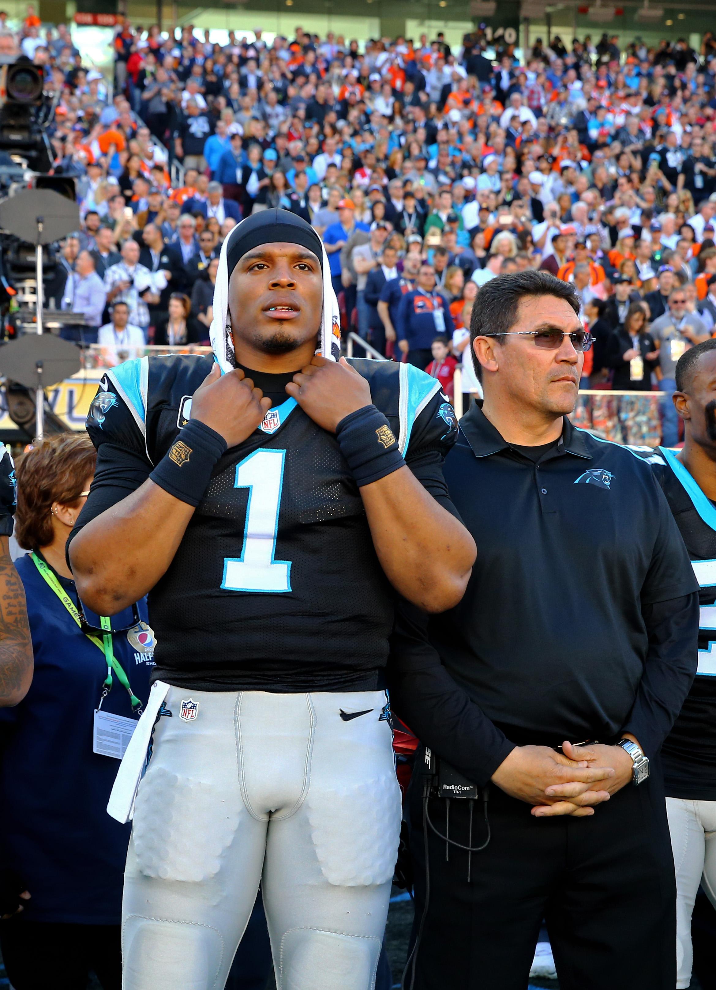 Carolina Panthers QB Cam Newton and HC Ron Rivera during Super Bowl 50 against the Denver Broncos, Feb. 7, 2016.