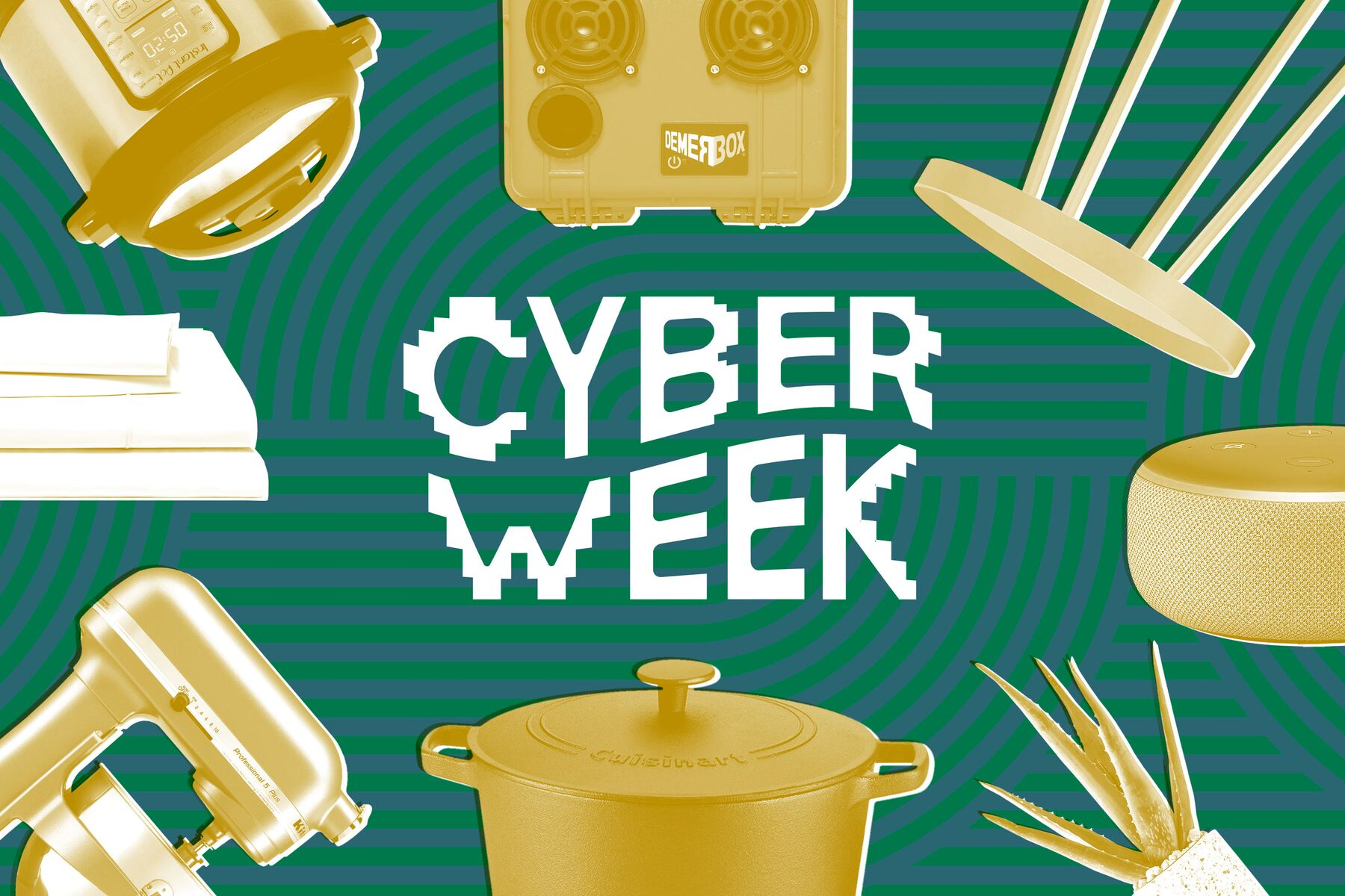 "The text ""Cyber Week"" on a green background with household objects rendered in yellow."
