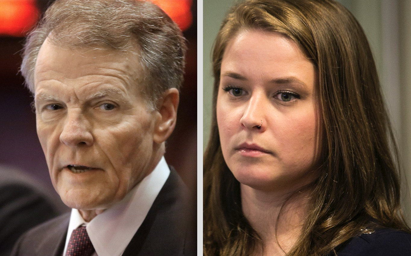State House Speaker Michael Madigan, left, in 2014; Alaina Hampton, right, in 2018. File Photos.