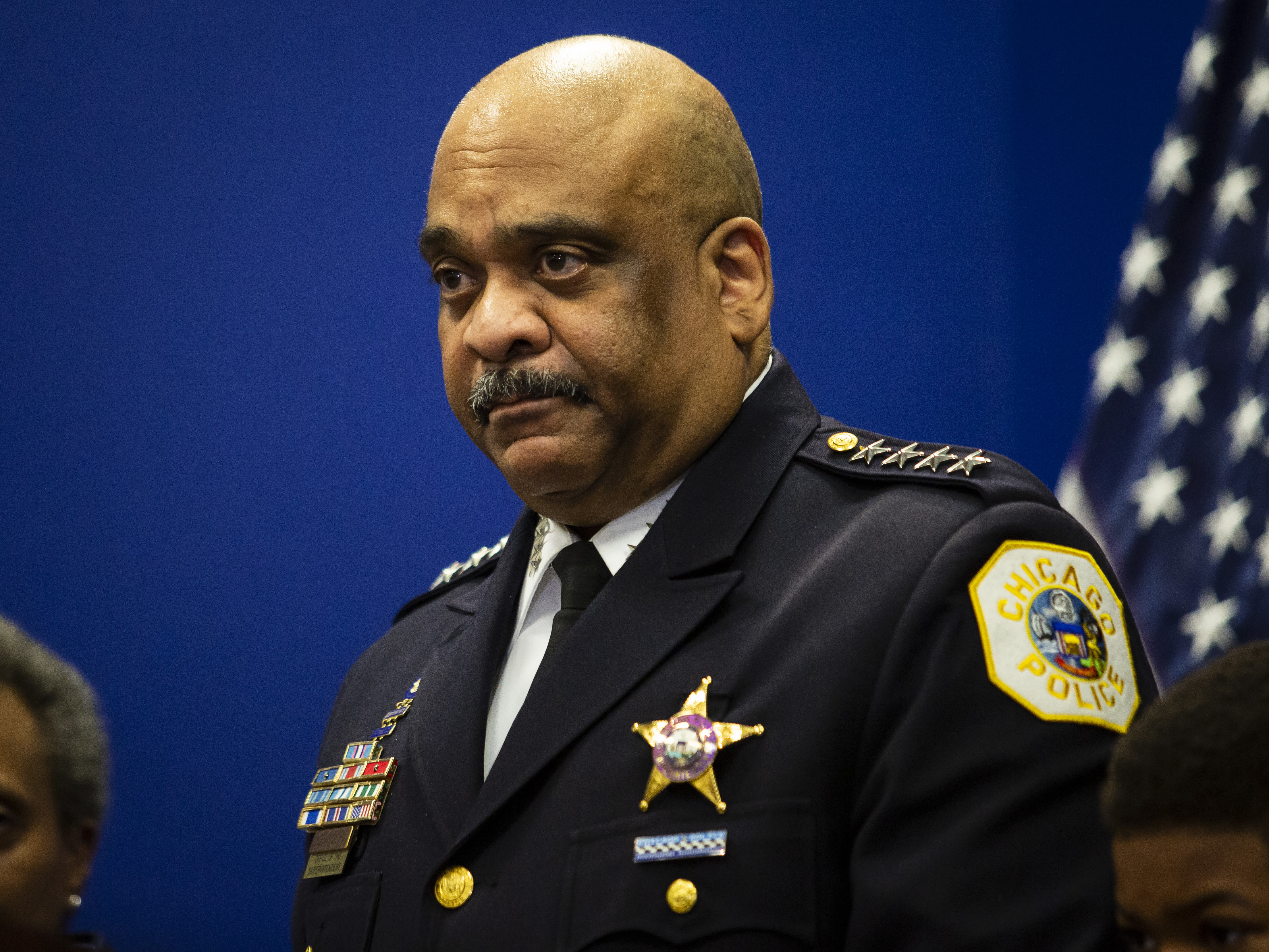 Chicago Police Department Supt. Eddie Johnson gets emotional as he announces his retirement during a press conference at CPD headquarters, Thursday morning.