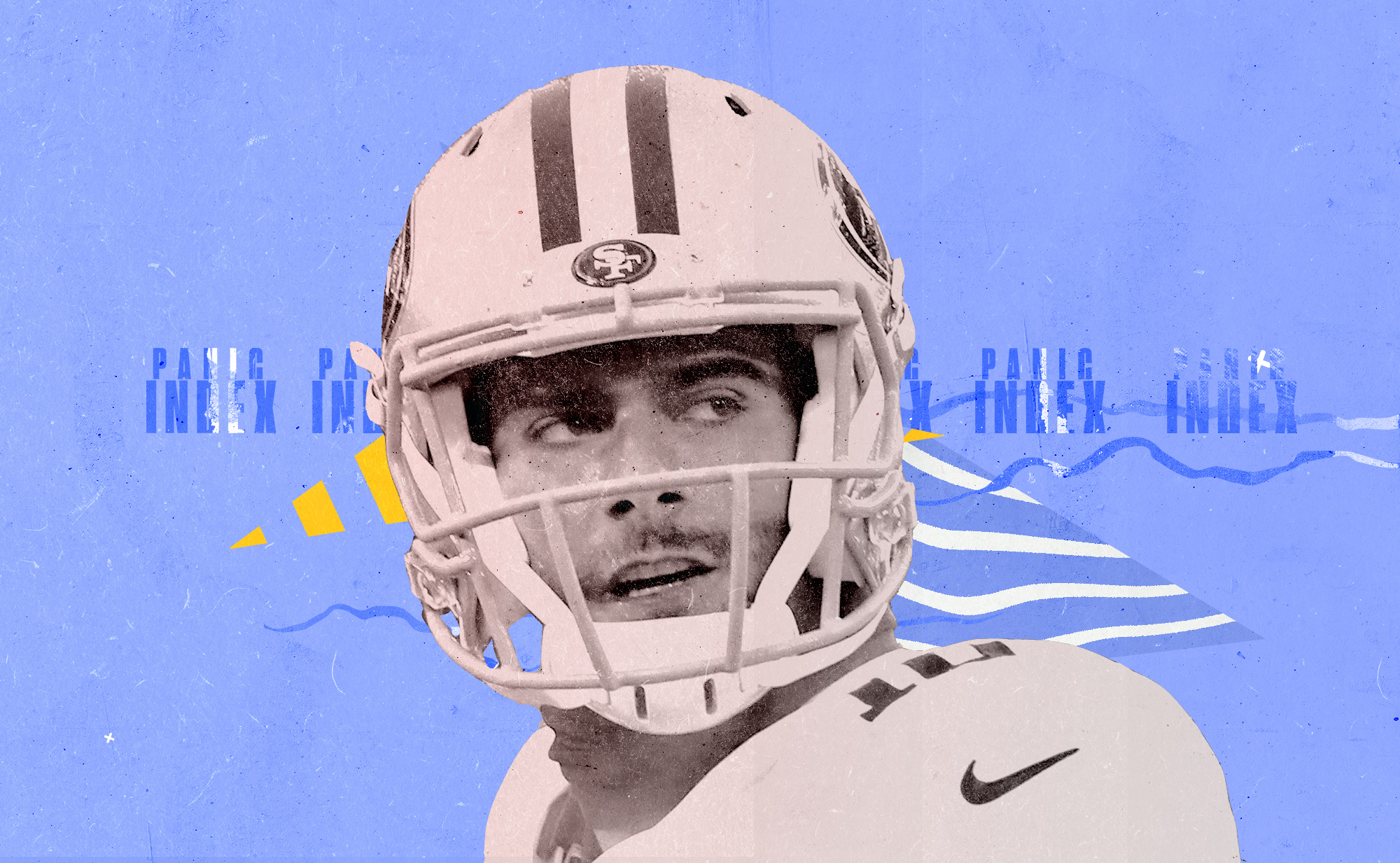49ers QB Jimmy Garoppolo glances to the side, superimposed on a blue, yellow, and white background with the words PANIC INDEX