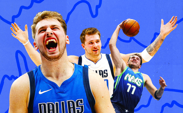 A collage of Luka Doncic on the Mavericks.