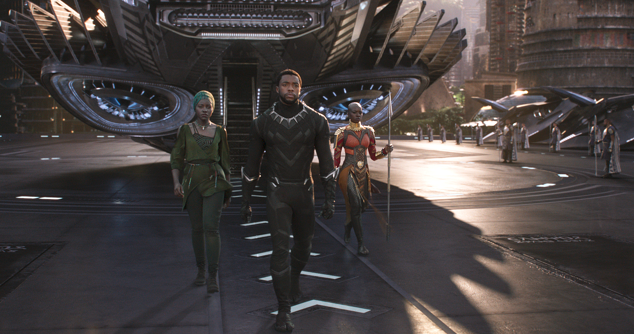 A still from the movie Black Panther set on a landing pad in the fictional city of Birnin Zana.