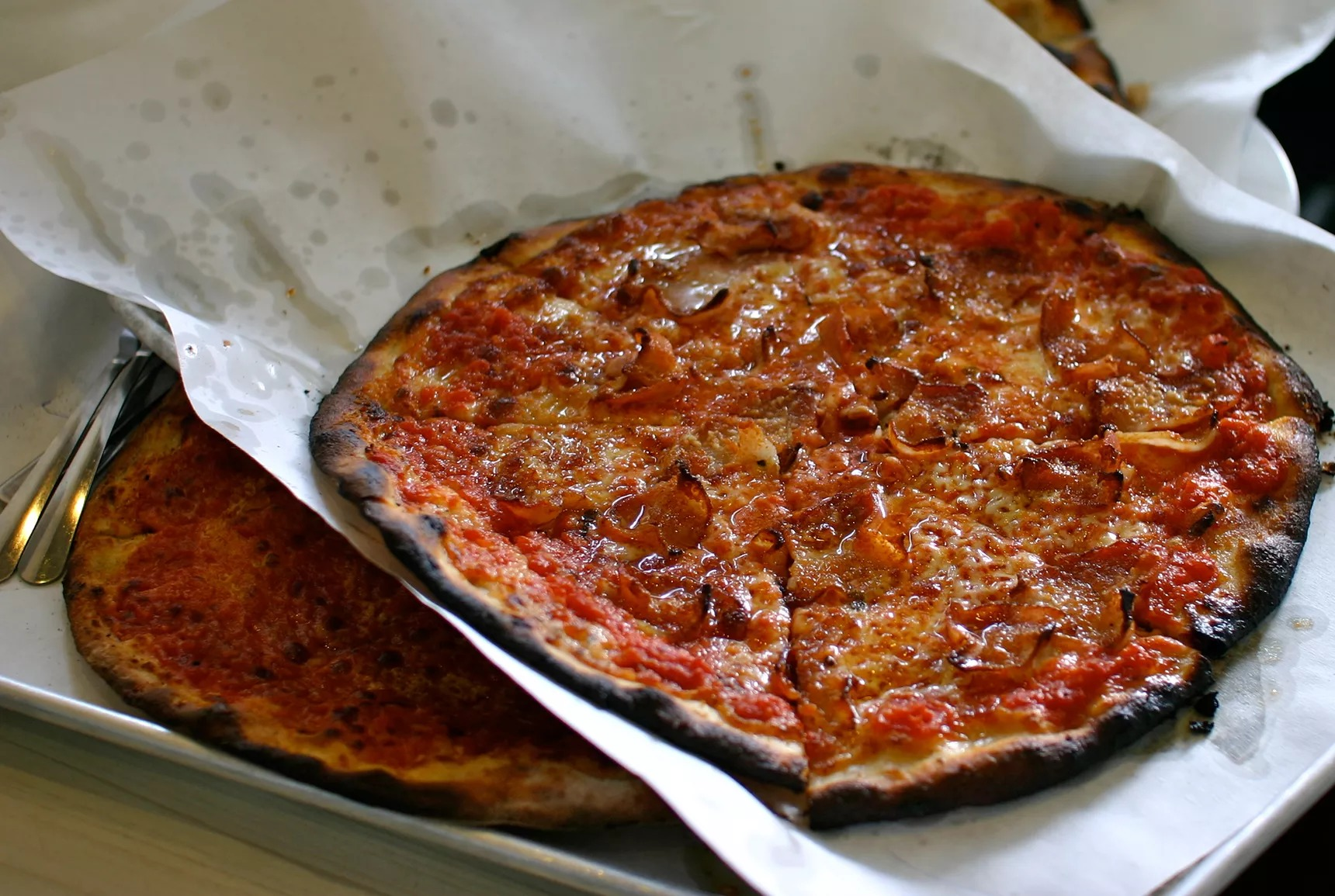A coal-charred pepperoni pie from Frank Pepe