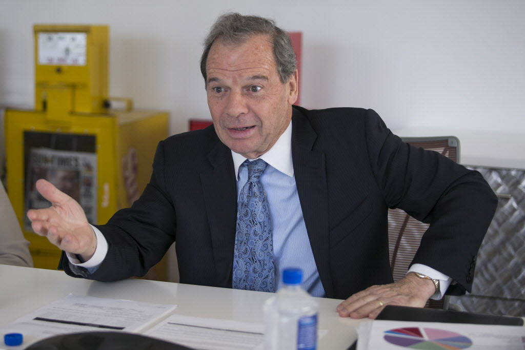 State Senate President John Cullerton speaks with the Chicago Sun-Times Editorial Board last year. File Photo. | Ashlee Rezin/for Sun-Times Media