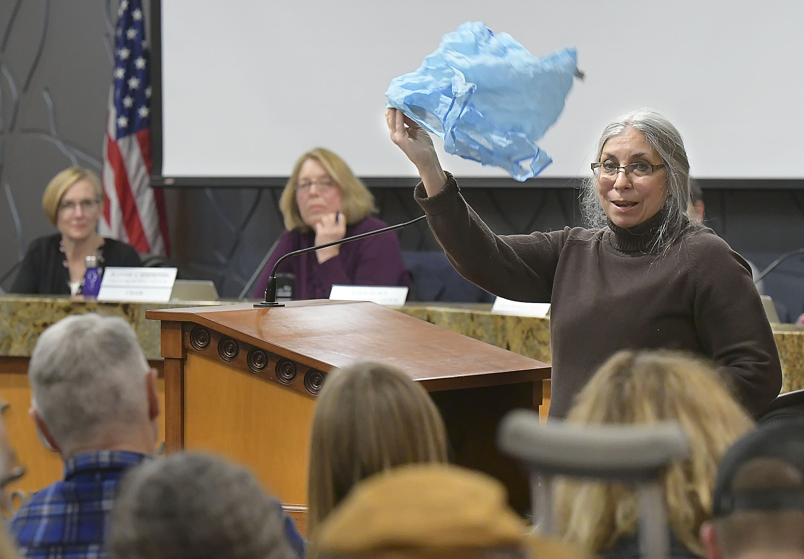 Mary DaSilva speaks about a proposed plastic bag ban, during a Logan City Council meeting in February 2019.