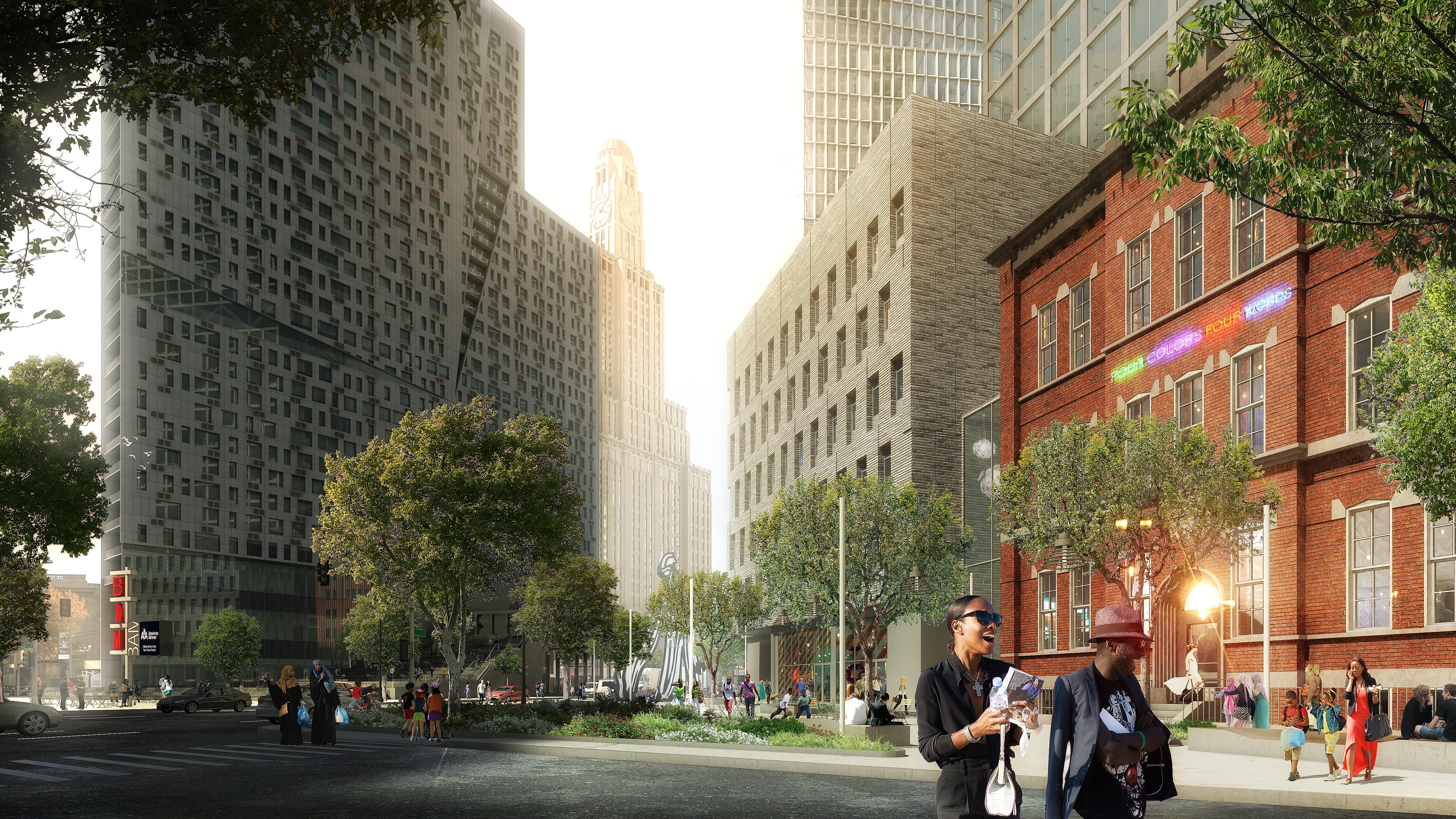 A street level rendering of 80 Flatbush.