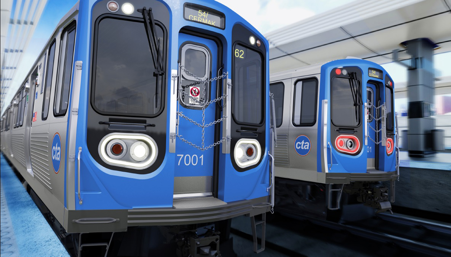 A rendering of the new L cars being made at a Southeast Side plant by CRRC Sifang America Inc., a subsidiary of a Chinese government-owned rail manufacturer.