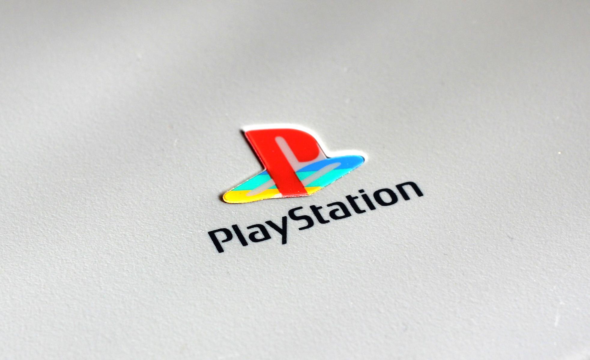 A photo of the original PlayStation logo