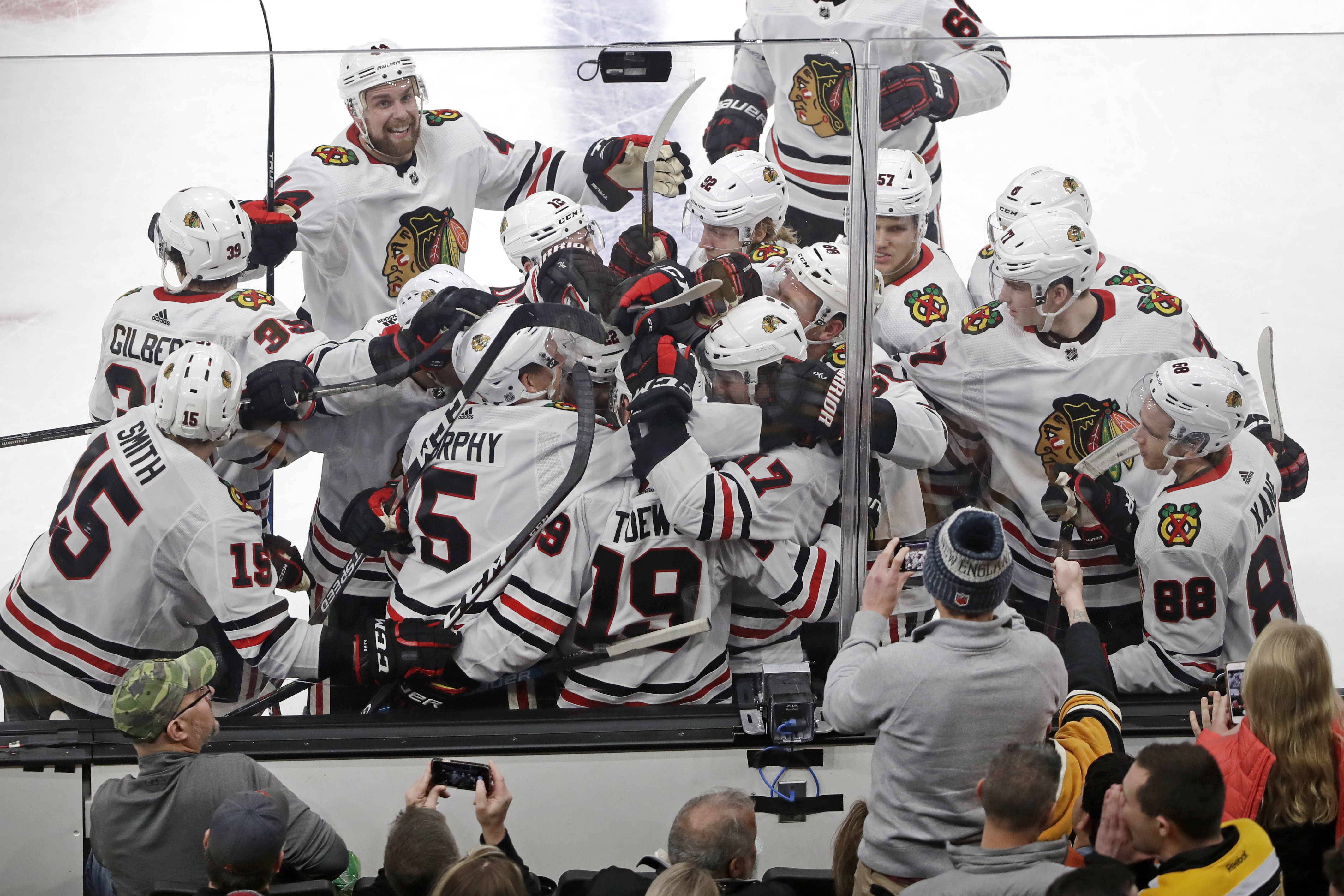 Jonathan Toews scored in overtime to earn a Blackhawks win in one of the NHL's toughest buildings.