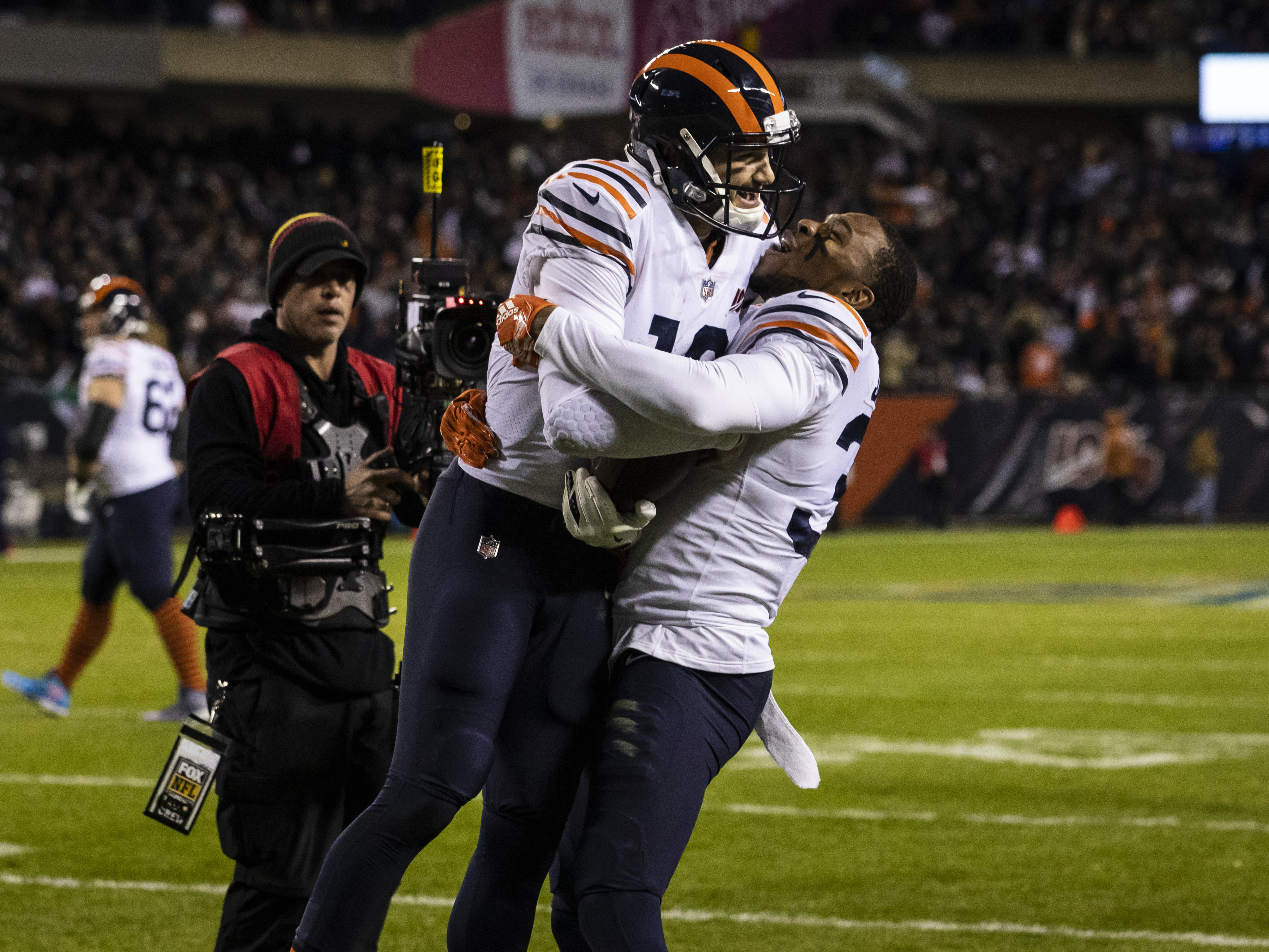 Bears quarterback Mitch Trubisky celebrates with safety Eddie Jackson after a 23-yard touchdown during the fourth quarter Thursday night against the Dallas Cowboys at Soldier Field.