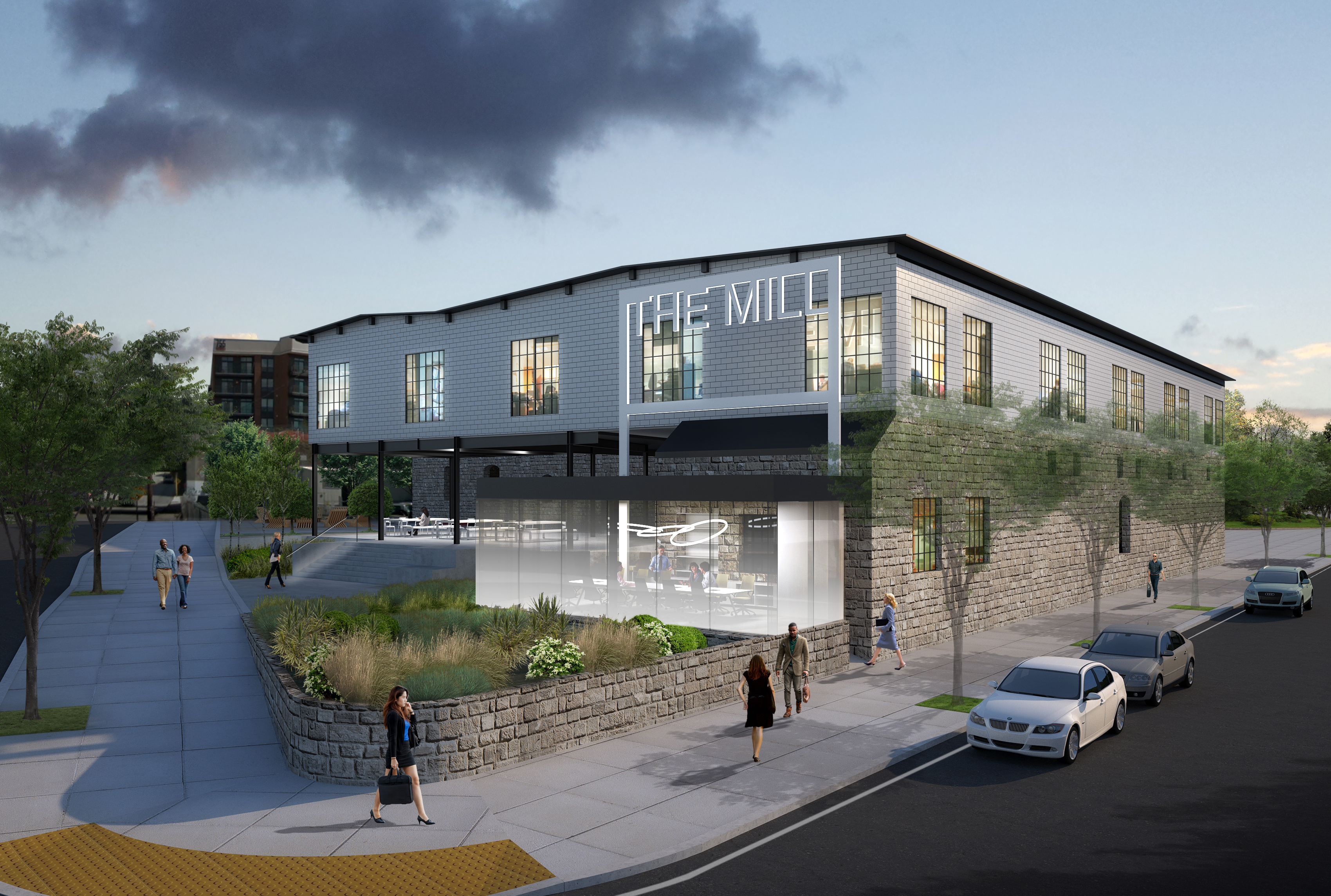 A rendering shows how the old buildings could be reimagined as office space.