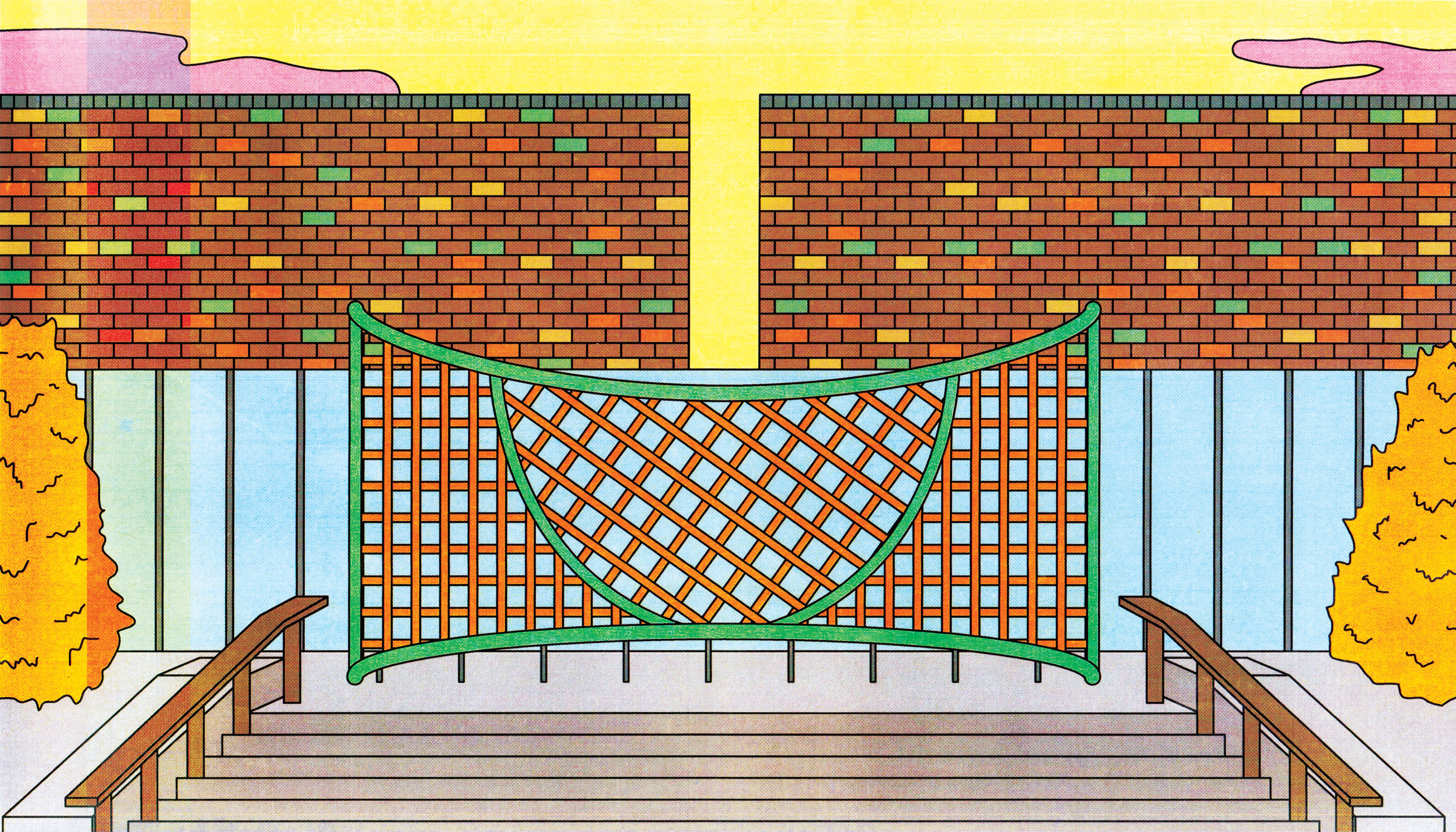 An orange, net-like, public seating structure placed outside, in front of a brick wall. Illustration.