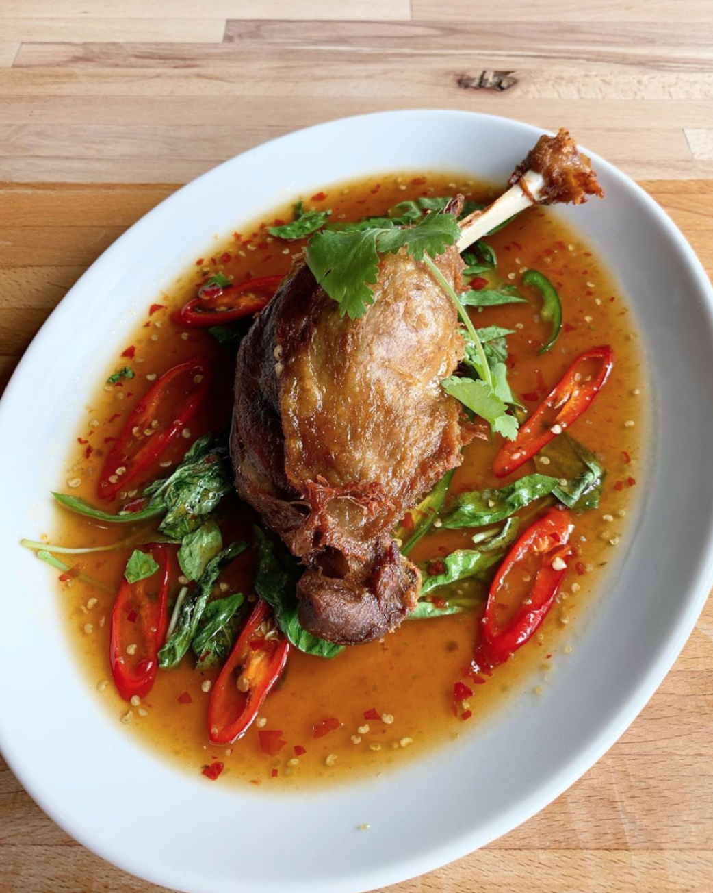 Ped ma kham — confit duck with tamarind —at Pinto Thai in Putney, one of the best restaurants to try if canvassing for the general election 2019 in London this weekend