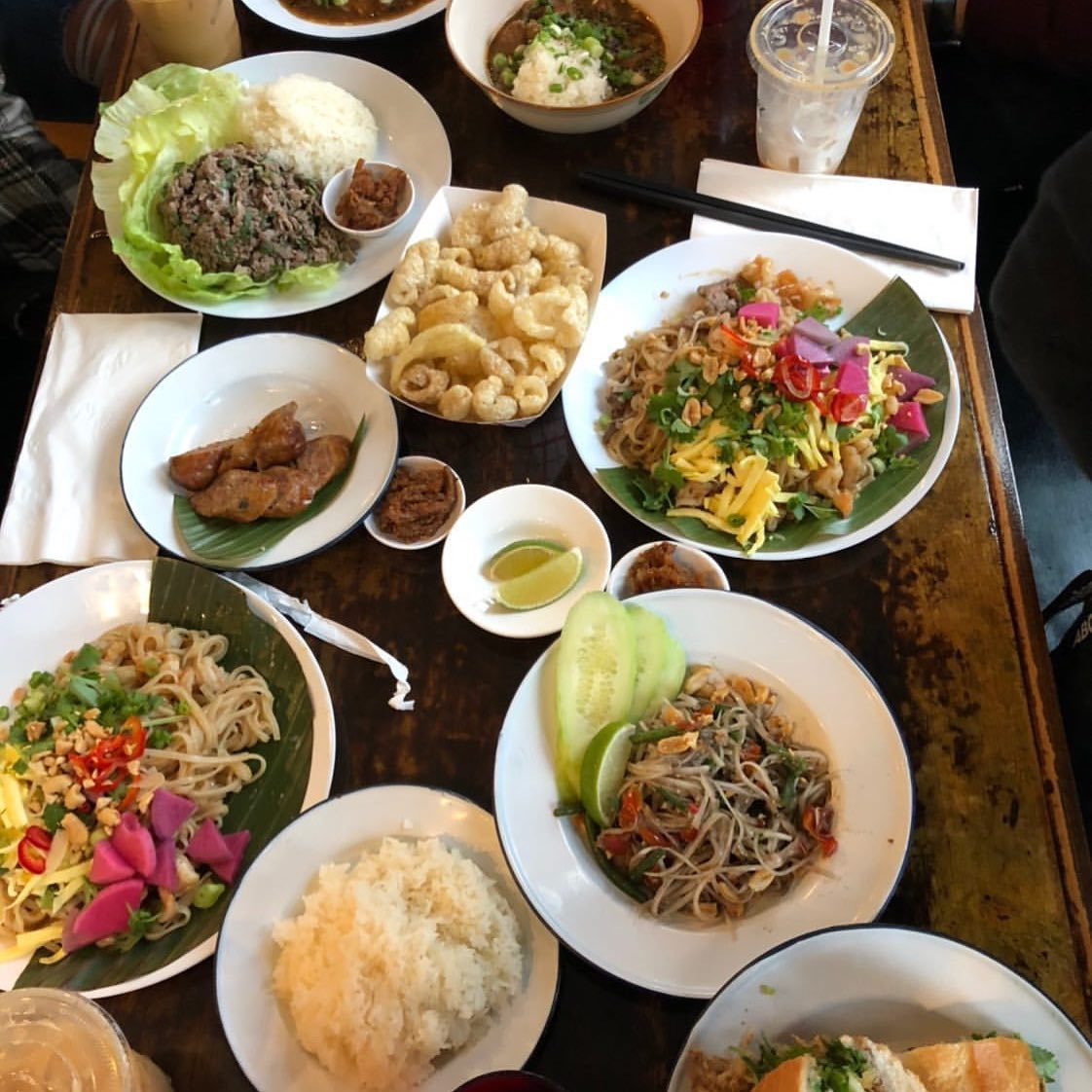 A collection of Laotian dishes at the new restaurant, Taurus Ox.