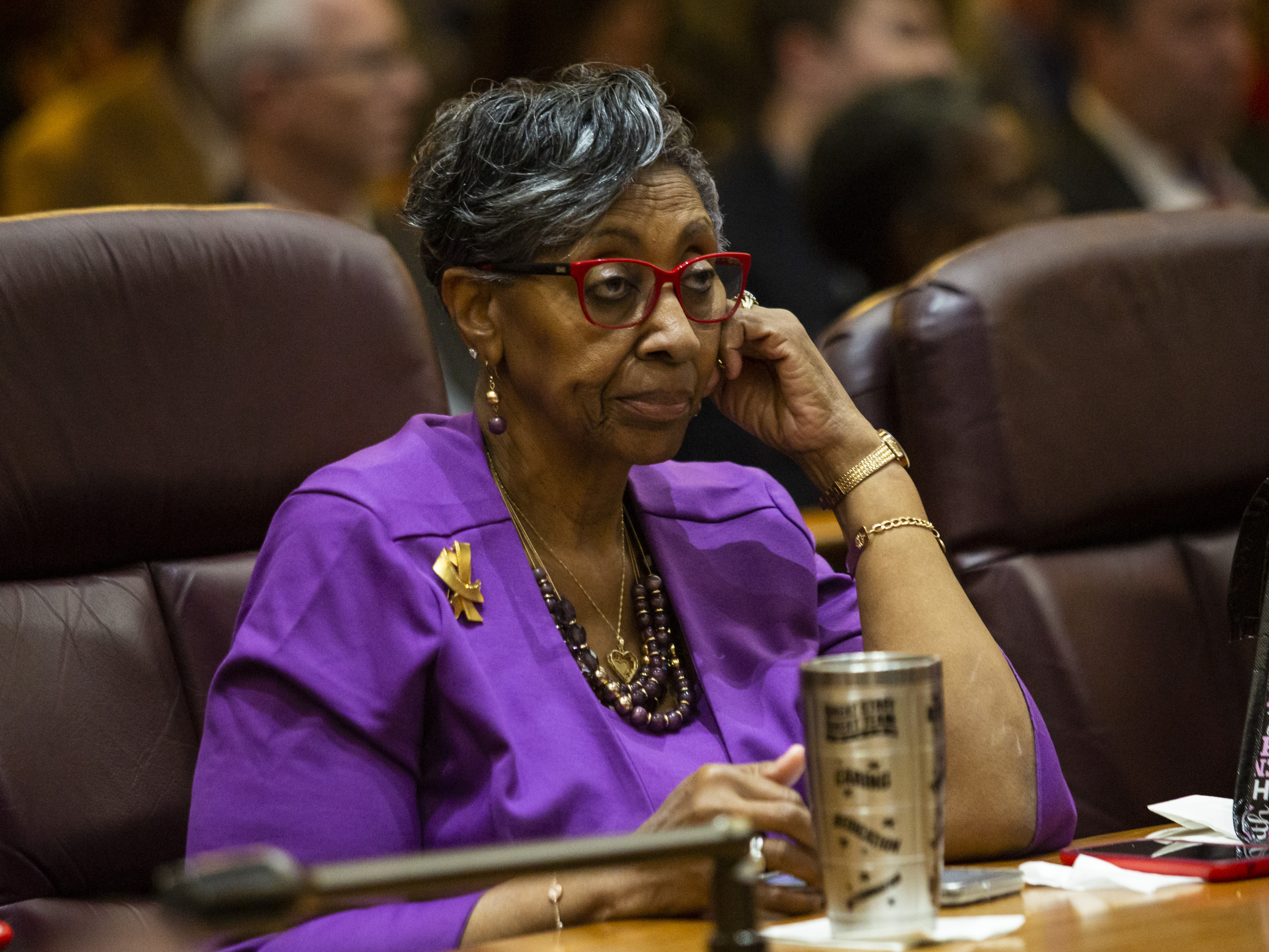 Ald. Carrie Austin (35th) attends the monthly Chicago City Council meeting, where Mayor Lori Lightfoot delivered her first budget address at City Hall, Wednesday morning, Oct. 23, 2019. | Ashlee Rezin Garcia/Sun-Times