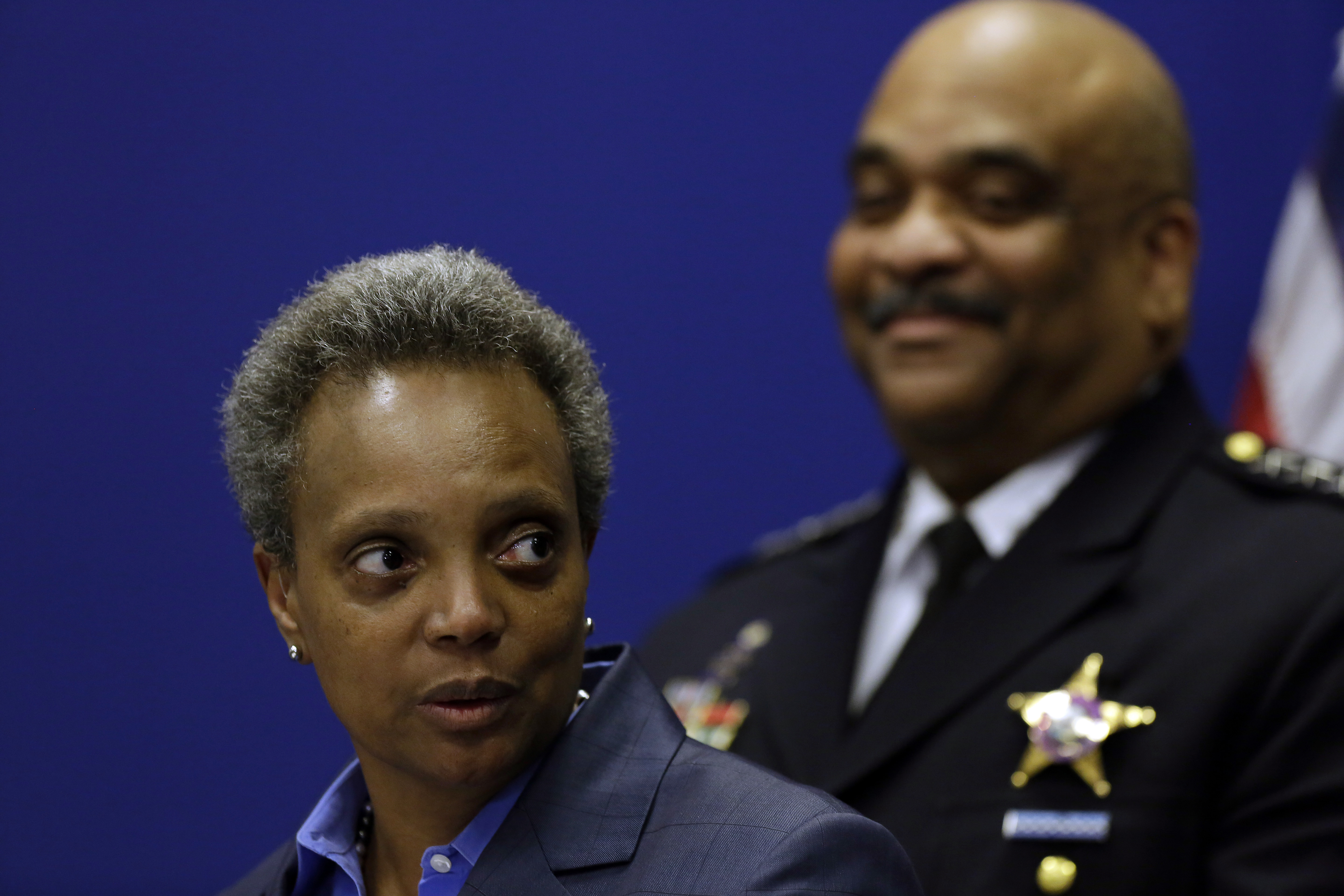 Chicago Mayor Lori Lightfoot speaks about Chicago Police Department Superintendent Eddie Johnson announcing his retirement last month. He was later fire.