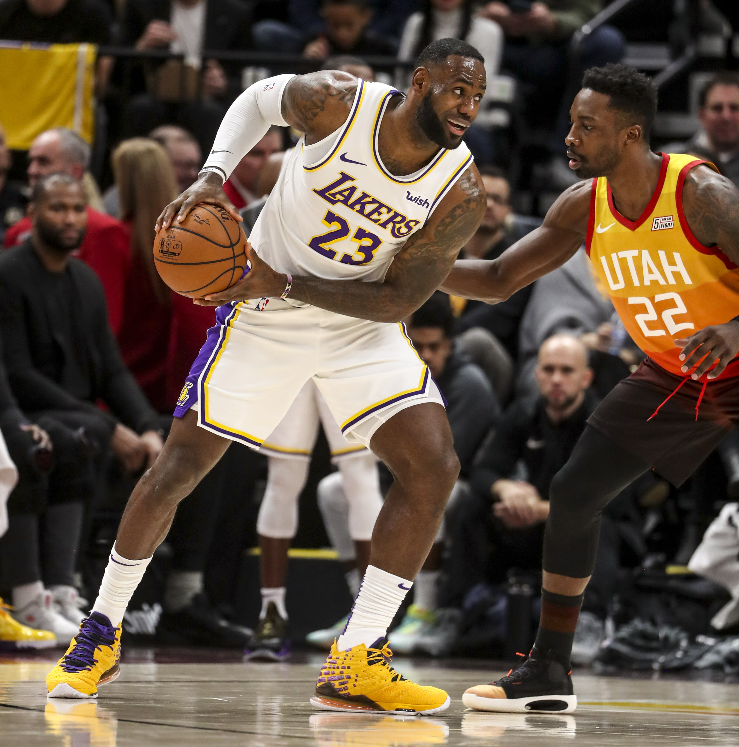 Los Angeles Lakers forward LeBron James (23) looks to drive on Utah Jazz forward Jeff Green (22) during an NBA game at Vivint Arena in Salt Lake City on Wednesday, Dec. 4, 2019.