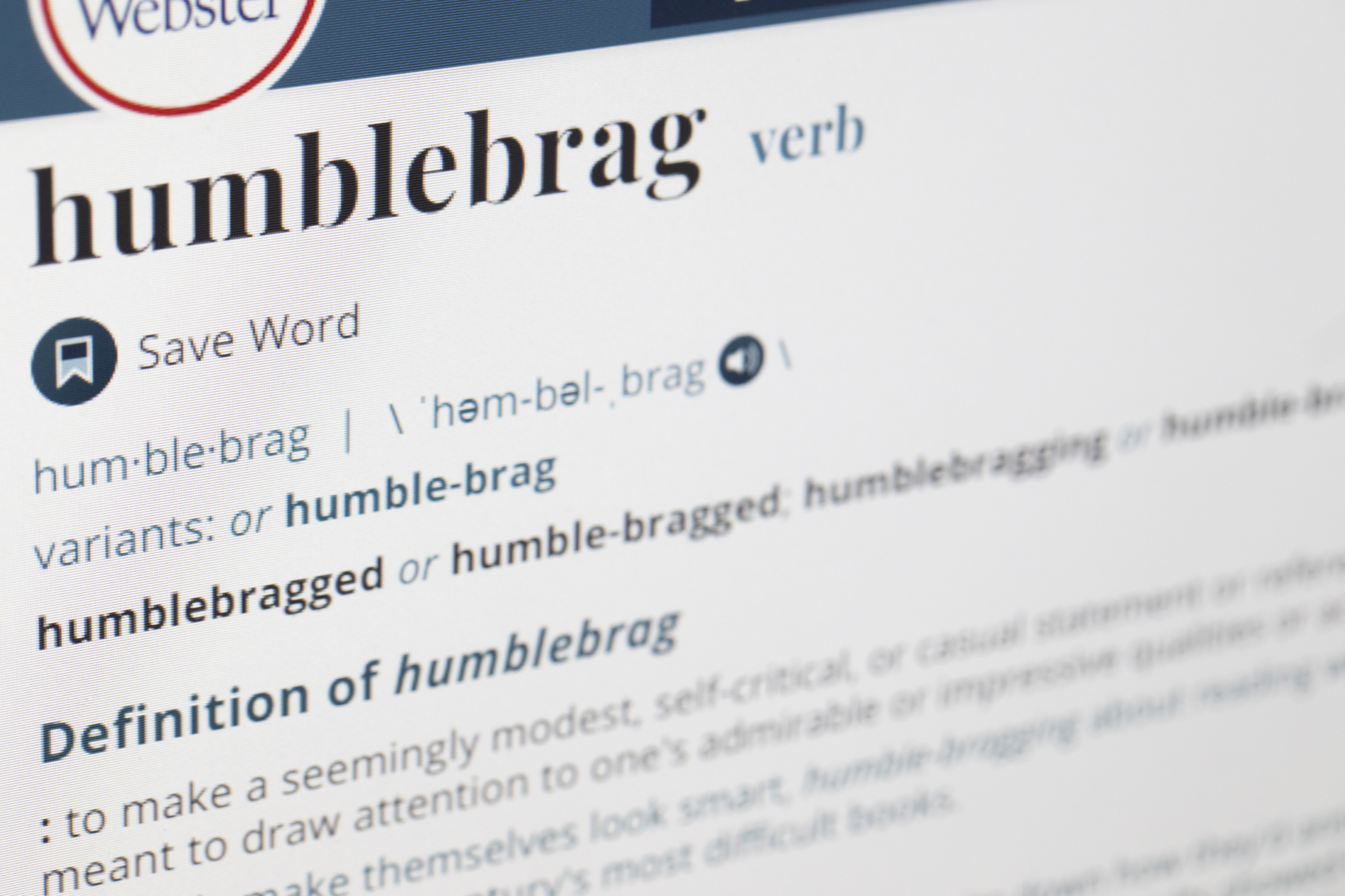 """The Merriam-Webster dictionary titans say the term """"humblebrag"""" has been around since 2002. The Associated Press says it should quietly disappear from use in the coming year."""