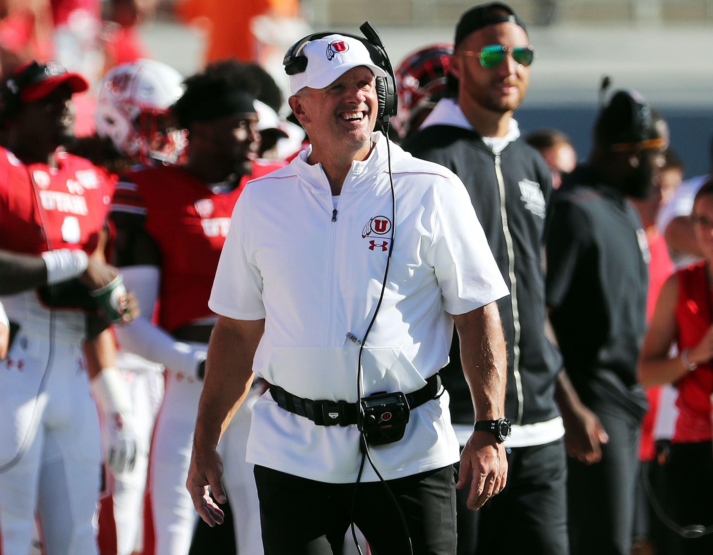 Utah Utes head coach Kyle Whittingham smiles near the end of the game against the Idaho State Bengals during NCAA football in Salt Lake City on Saturday, Sept. 14, 2019.