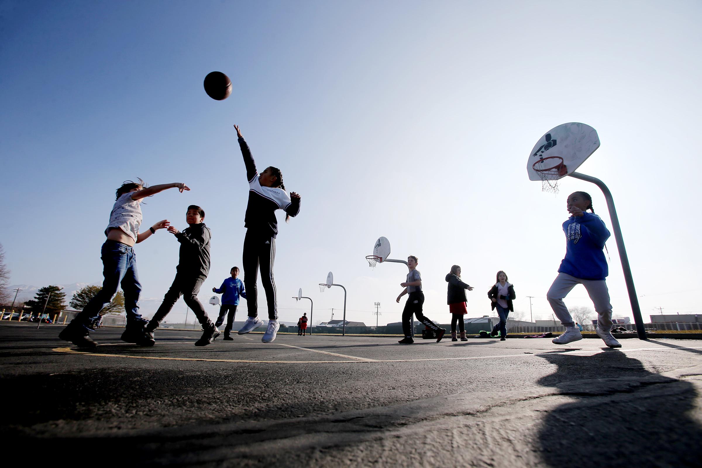 Students at Terra Linda Elementary School in West Jordan play basketball during recess on Friday, Dec. 6, 2019.