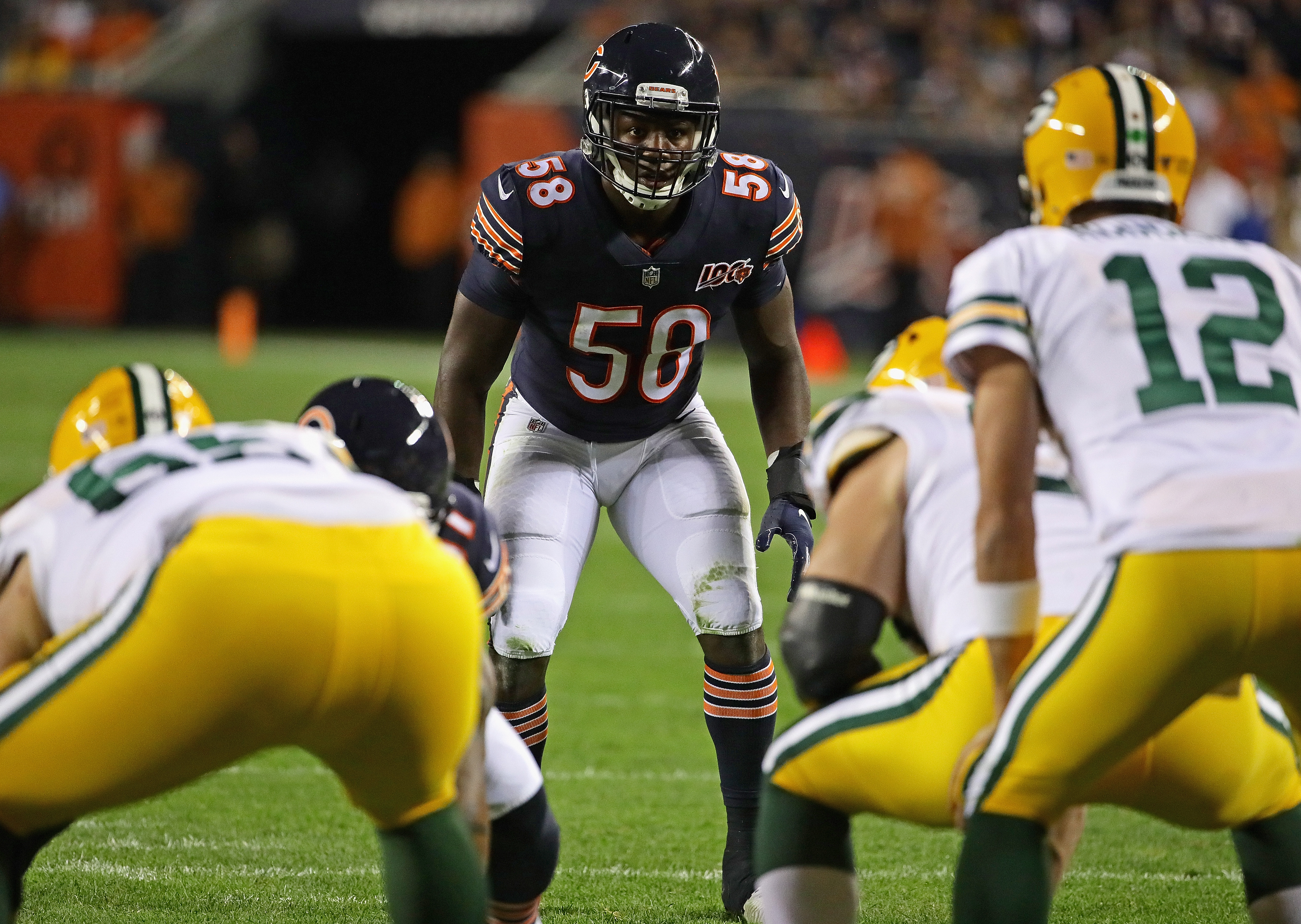 Bears linebacker Roquan Smith prepares for the snap against the Packers in September. Smith tore a pectoral muscle against the Cowboys on Thursday and will miss the rest of the season.