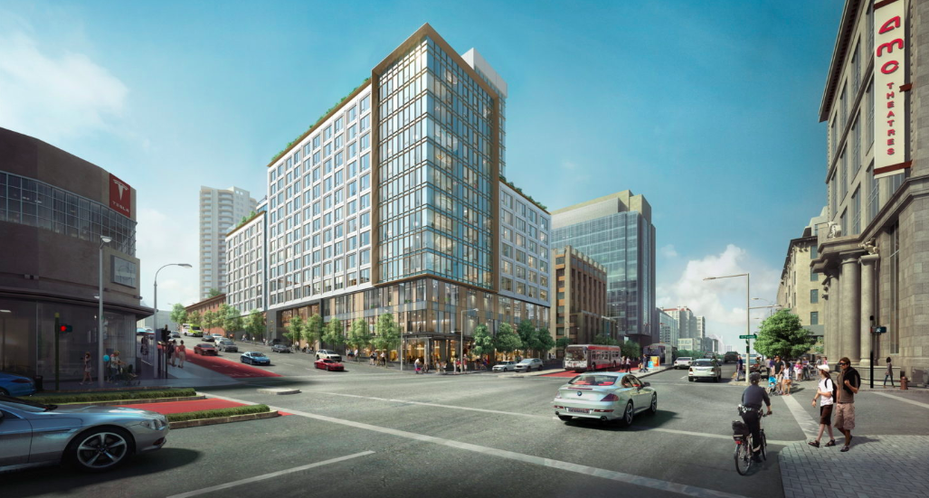 A rendering of a 13-story glass-encased building on a corner in San Francisco.