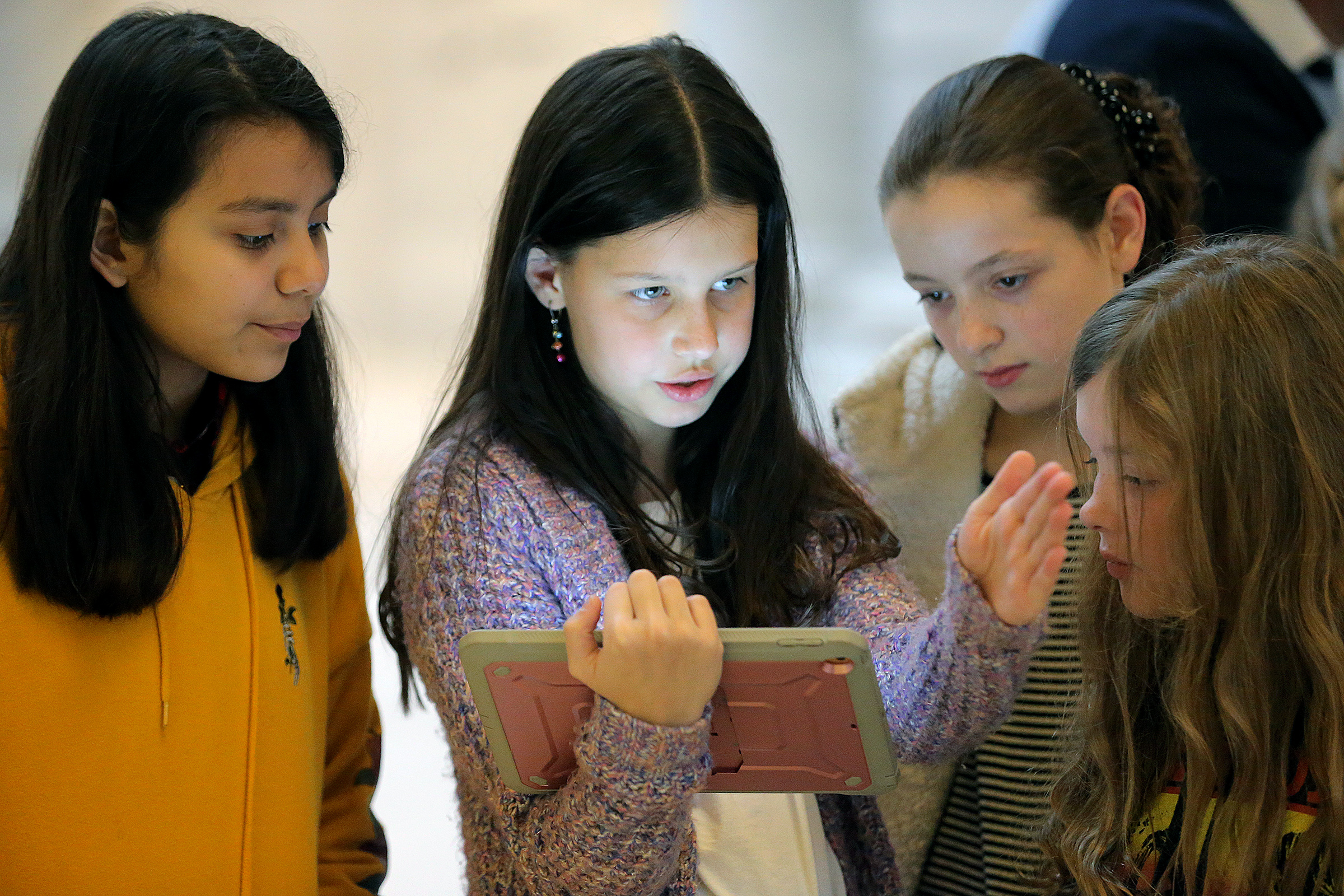 April Martinez, Katie Ketchoyian, Natalie Ellis and Aurora Payton, fifth-graders at Horizon Elementary in Murray, work out the programming for a toy at the state Capitol in Salt Lake City on Monday, Dec. 9, 2019. Gov. Gary Herbert joined leaders in education and the tech industry to announce the dedication of funds in his upcoming budget to ensure every K-12 student in the state has access to computer science education. The governor also declared Computer Science Education Week.
