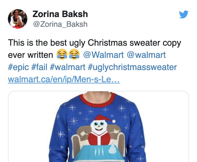 Walmart apologizes for a Christmas sweater. It had drugs on it.