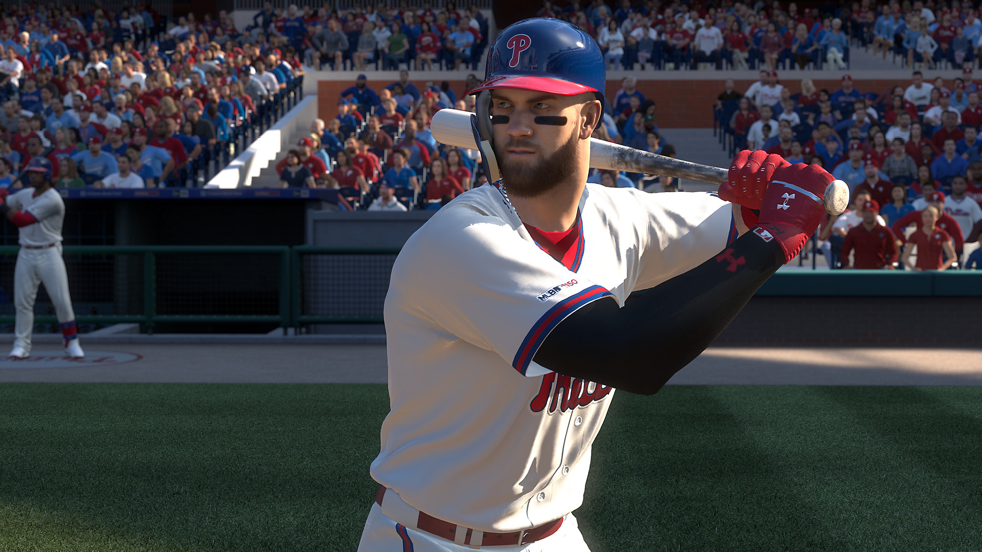 Bryce Harper of the Philadelphia Phillies in his stance at home plate in MLB The Show 19