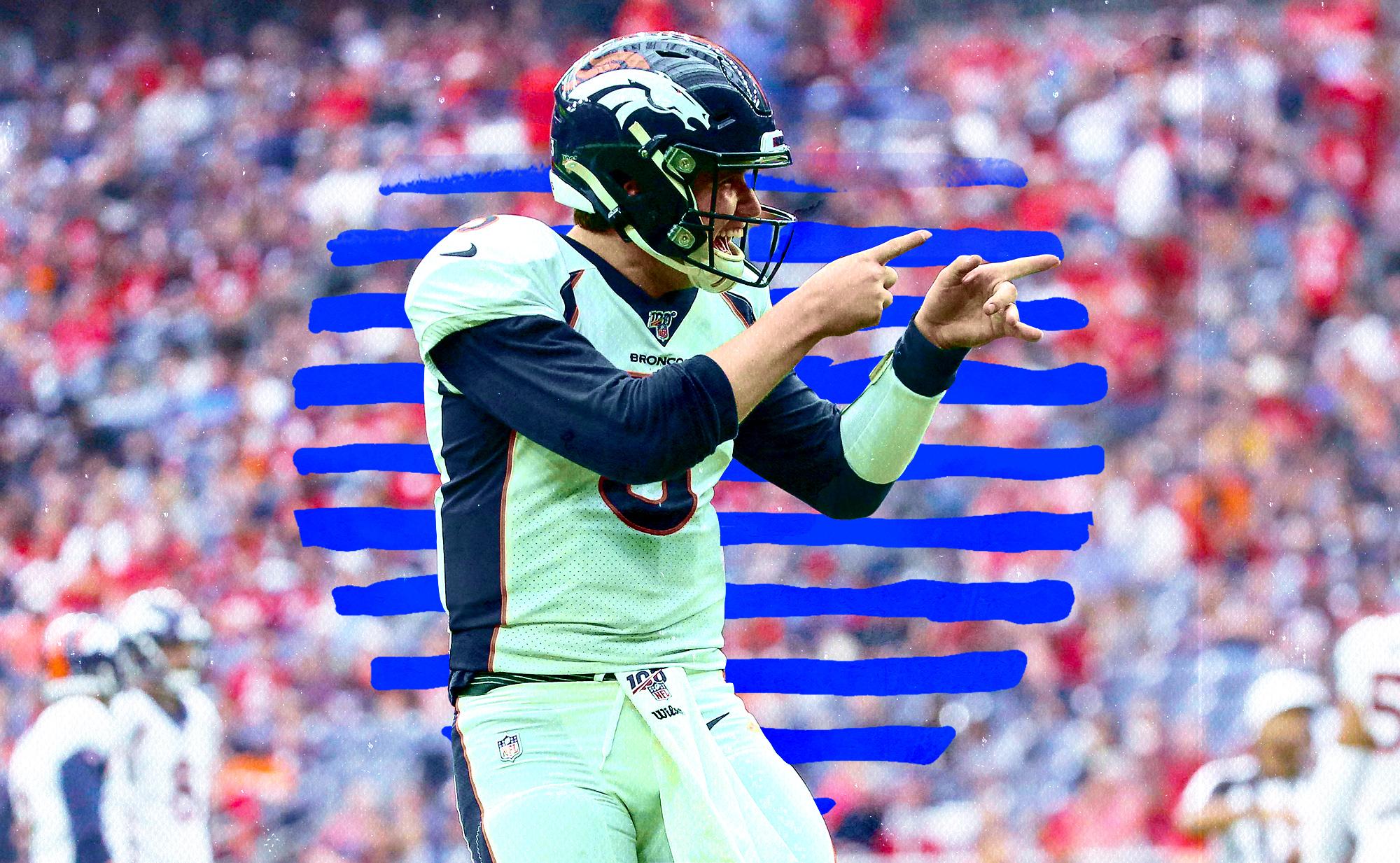 Broncos QB Drew Lock celebrating a touchdown pass thrown against the Texans