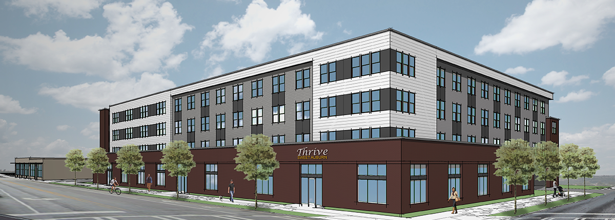 A rendering of a brick and white building, long and four stories, with windows at the bottom.