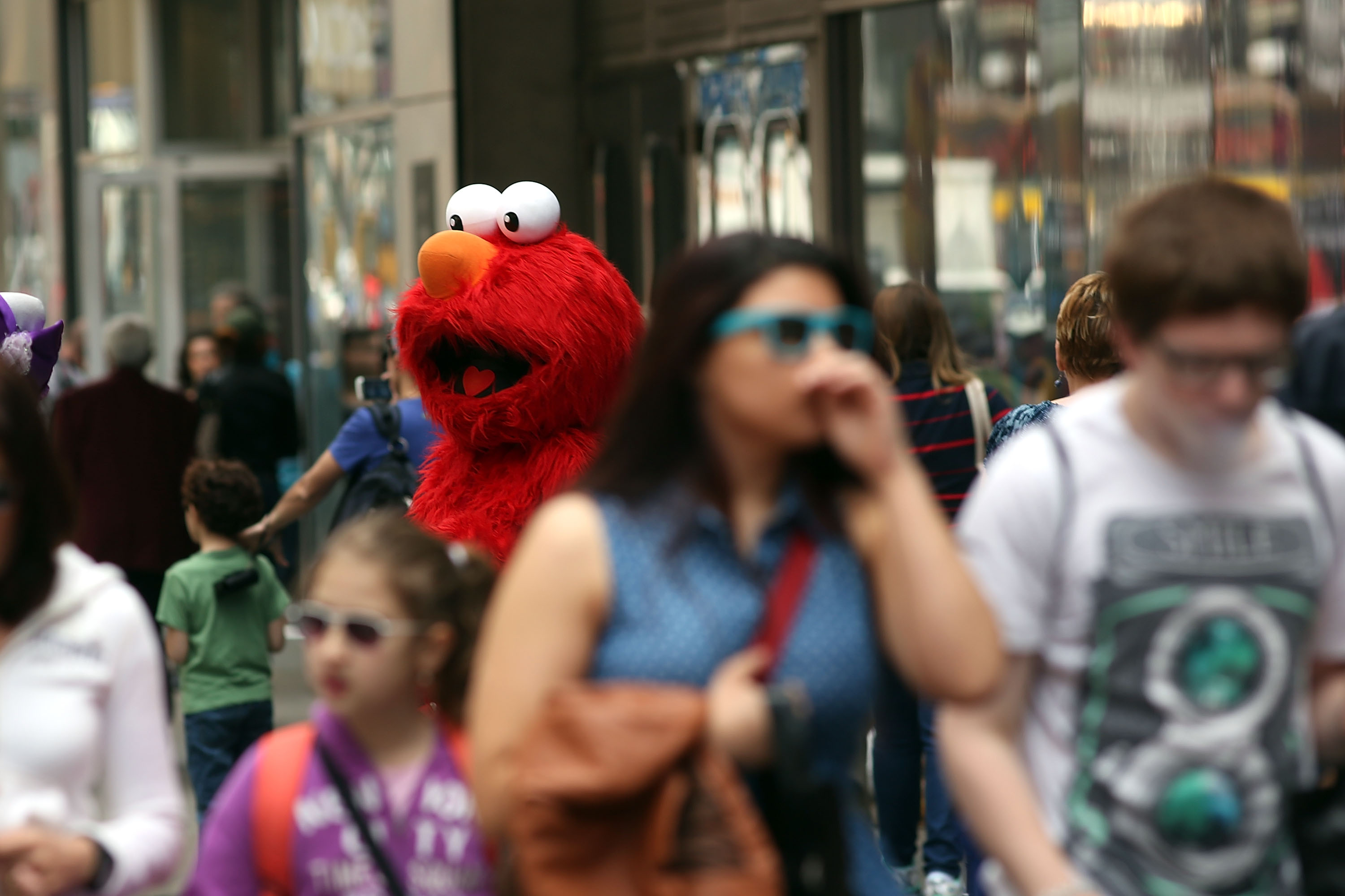 Times Square's costumed characters descend on pedestrianized Rockefeller Center
