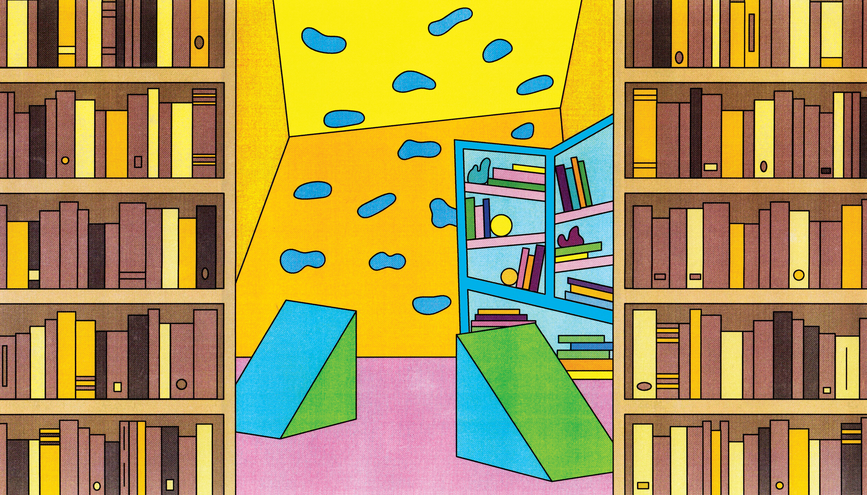 Two brown library bookcases frame a colorful scene of funky geometric kid's shelves and climbing structures. Illustration.