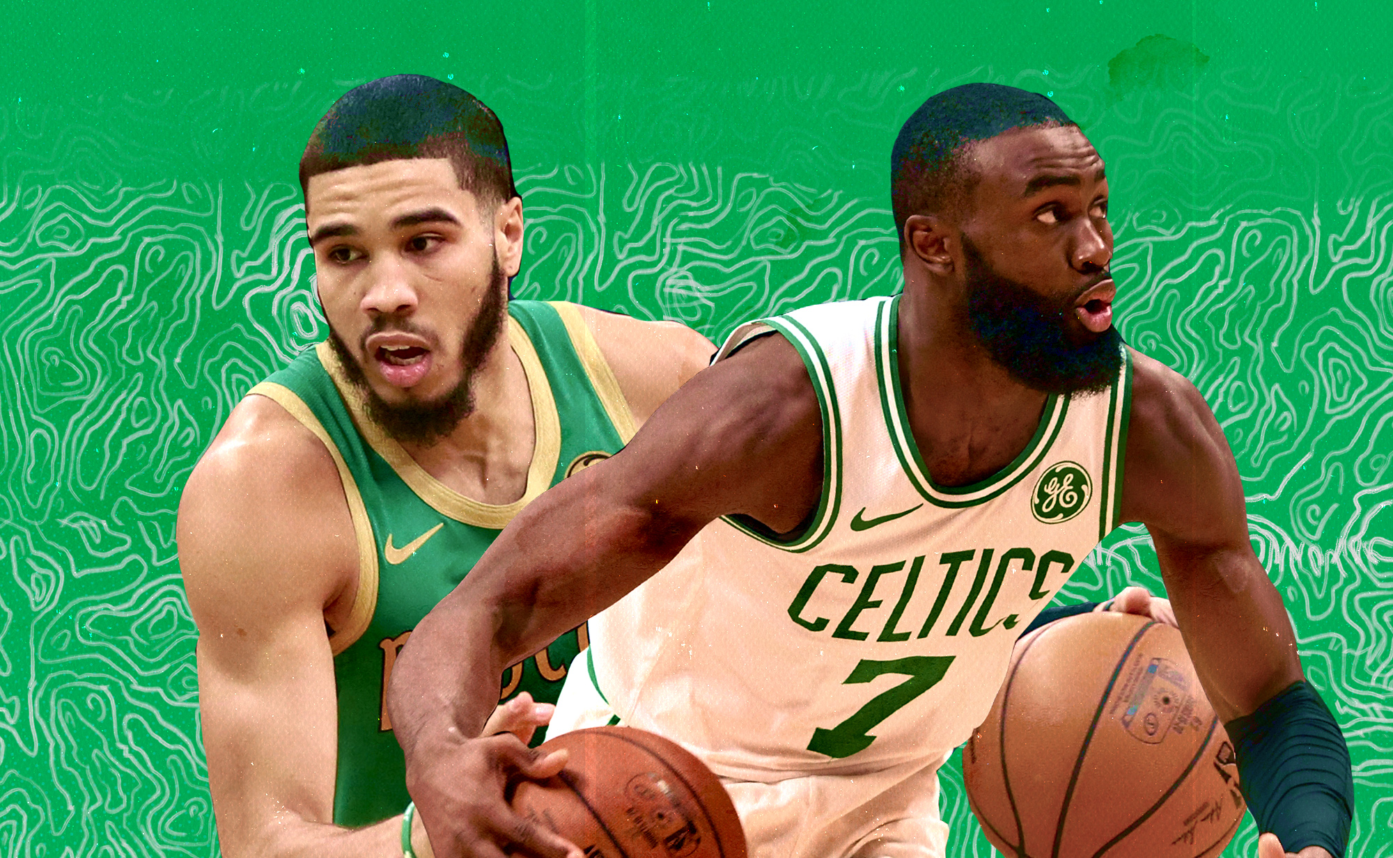 Jayson Tatum (left) and Jaylen Brown (right) in a collage.