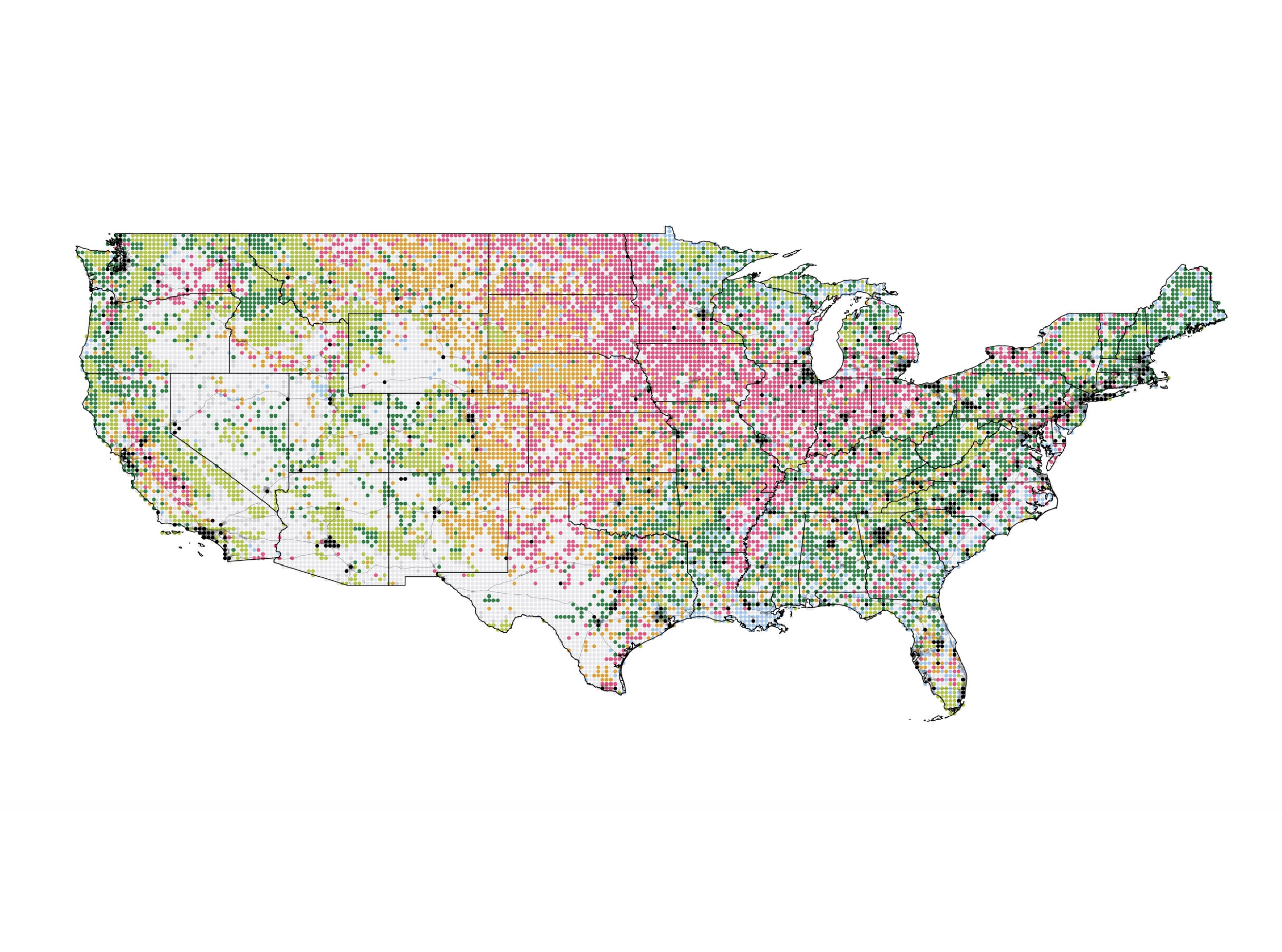 A map of the US showing open space, urban areas, agriculture lands, grassland and pasture lands, forests, wetlands, shrub lands, and other areas through pixelated colored dots