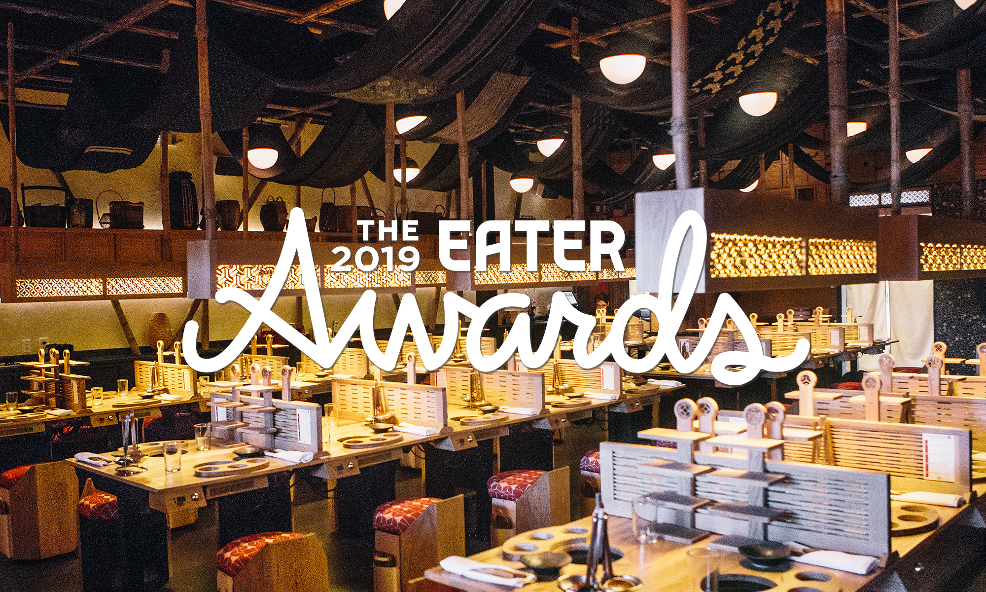 """The dining room of DipDipDip Tatsu-ya overlaid with text that says """"The 2019 Eater Awards"""""""