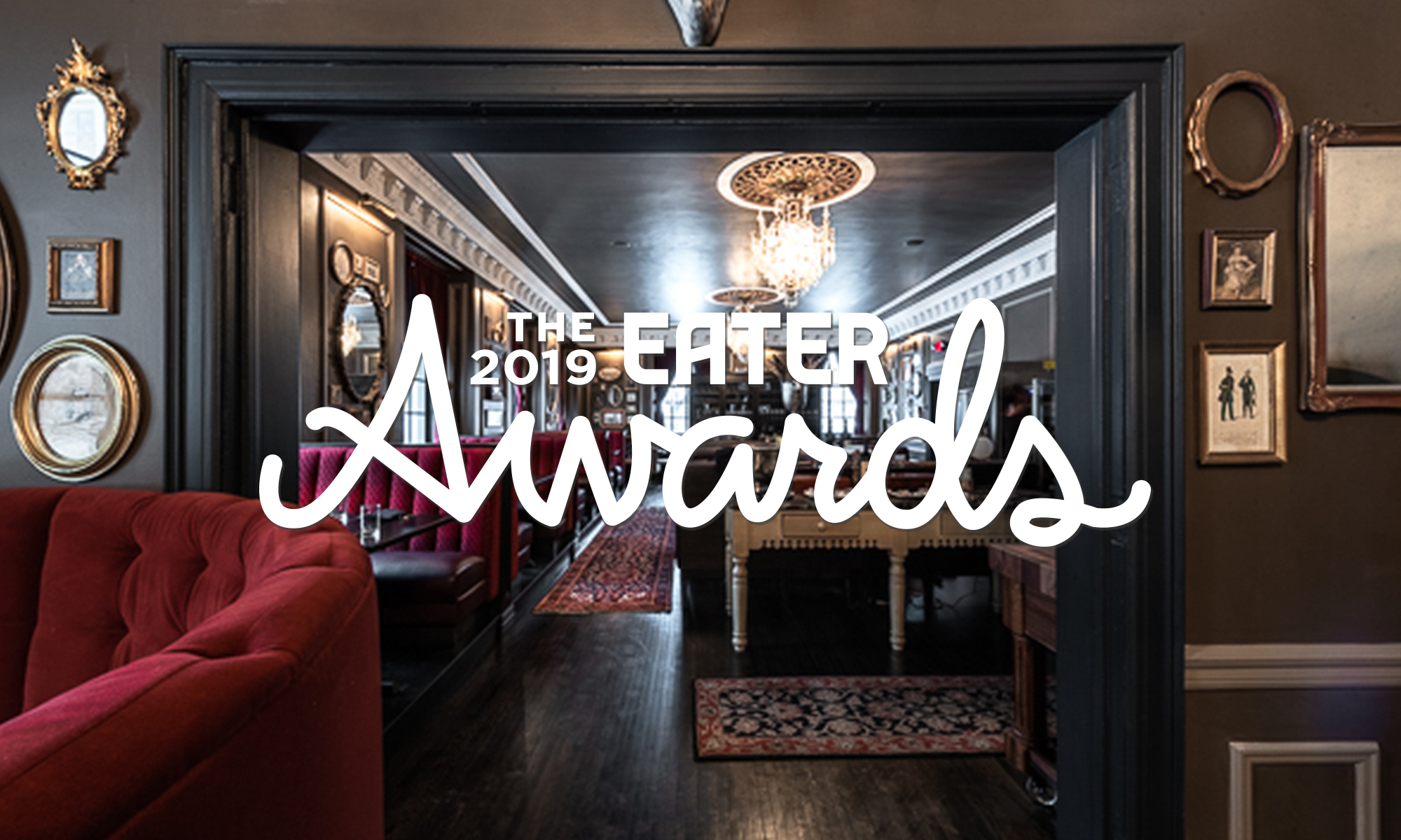 The back dining room of PS Steak with a banner saying The 2019 Eater Awards